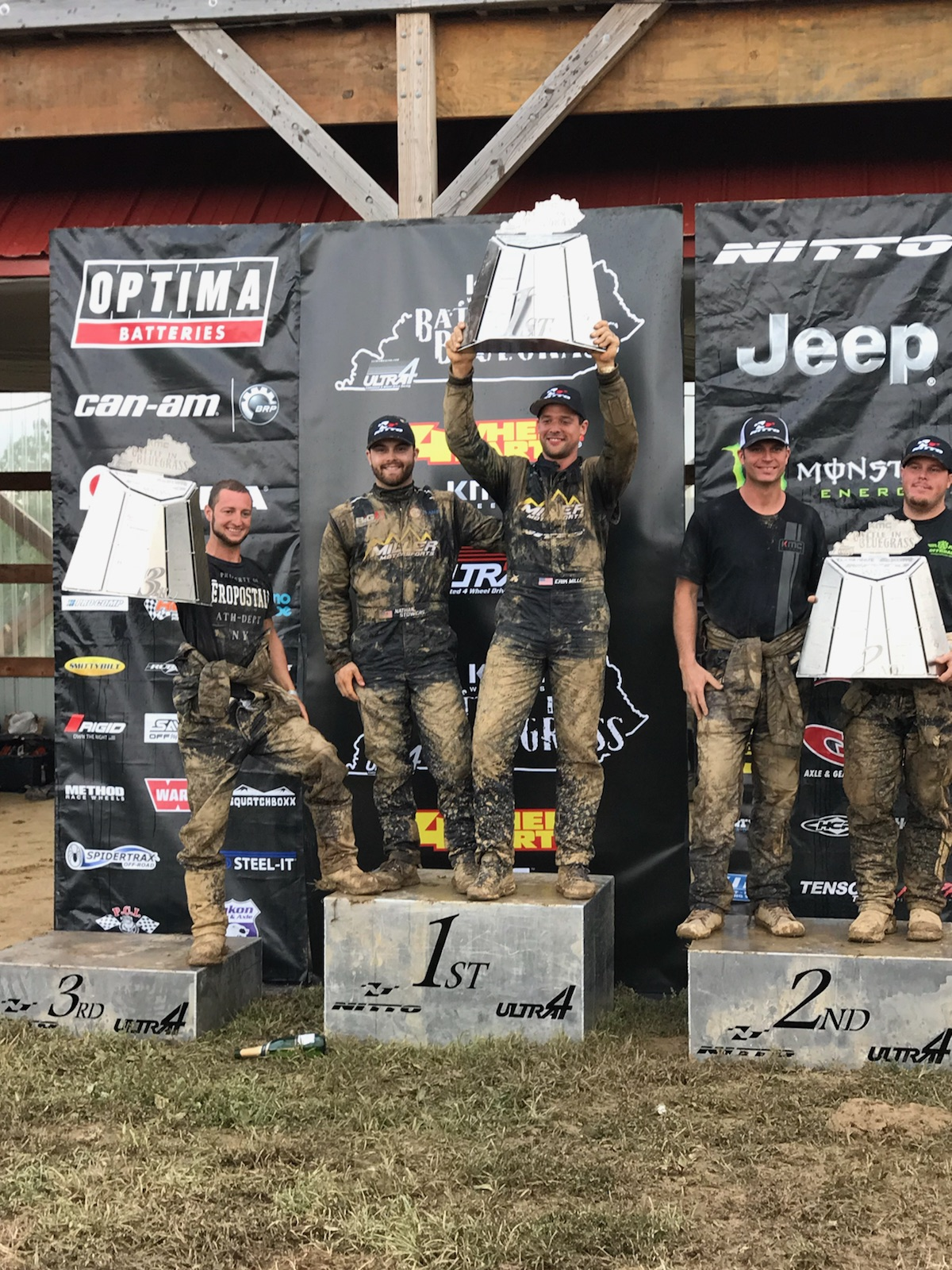 Erik Miller (middle-right) with co-driver Nathan Stowers (middle-left) KMC Battle in Bluegrass 2018 winners