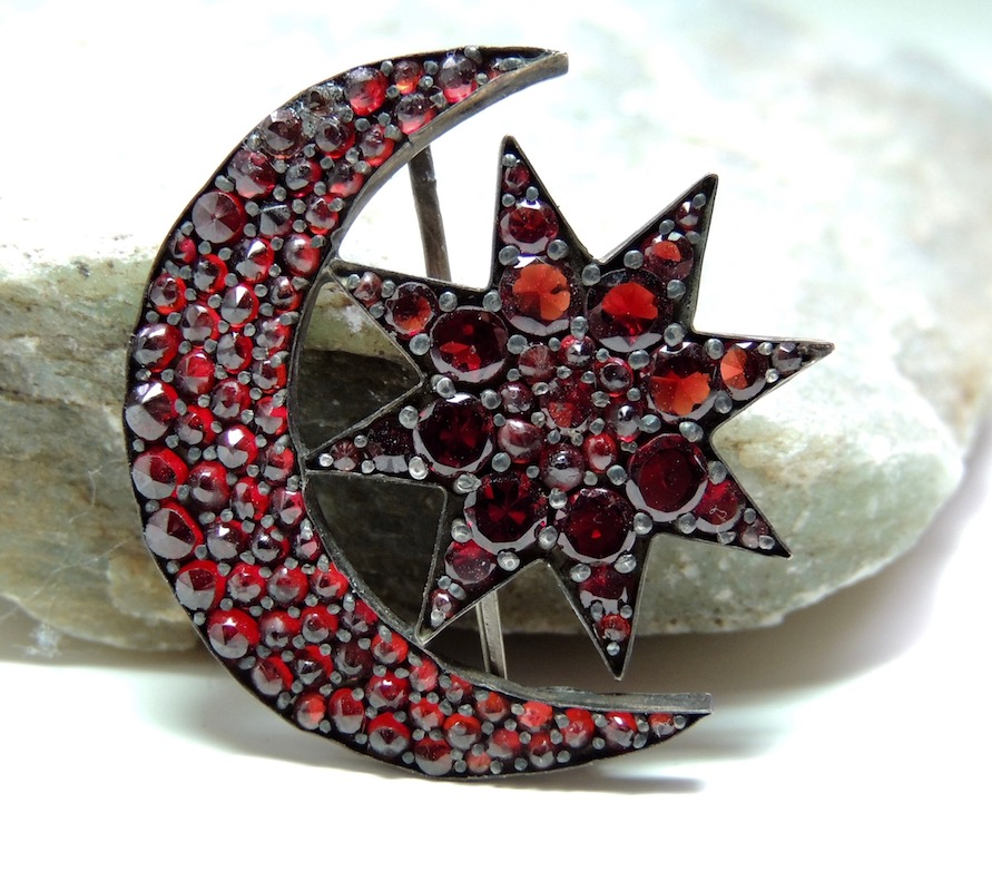 Bohemian Garnet Crescent and Star Brooch
