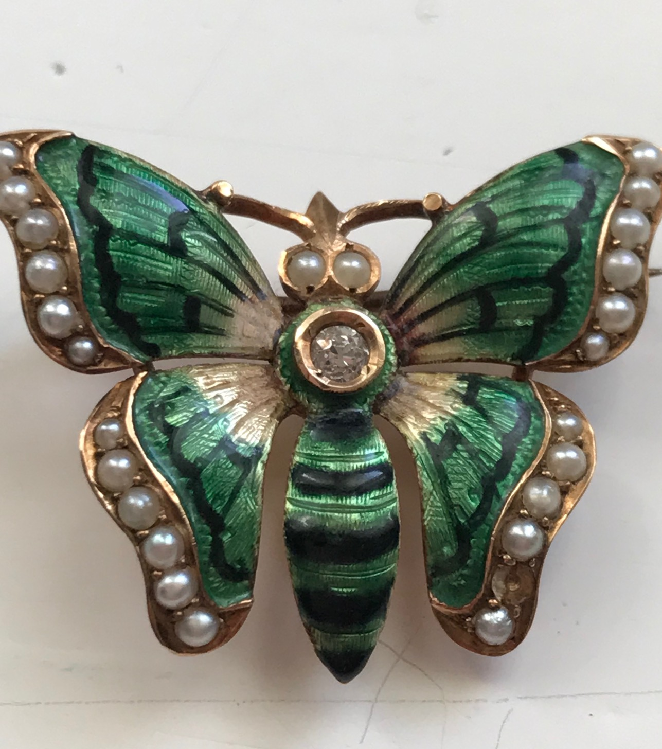 Butterfly Enamel Antique Brooch