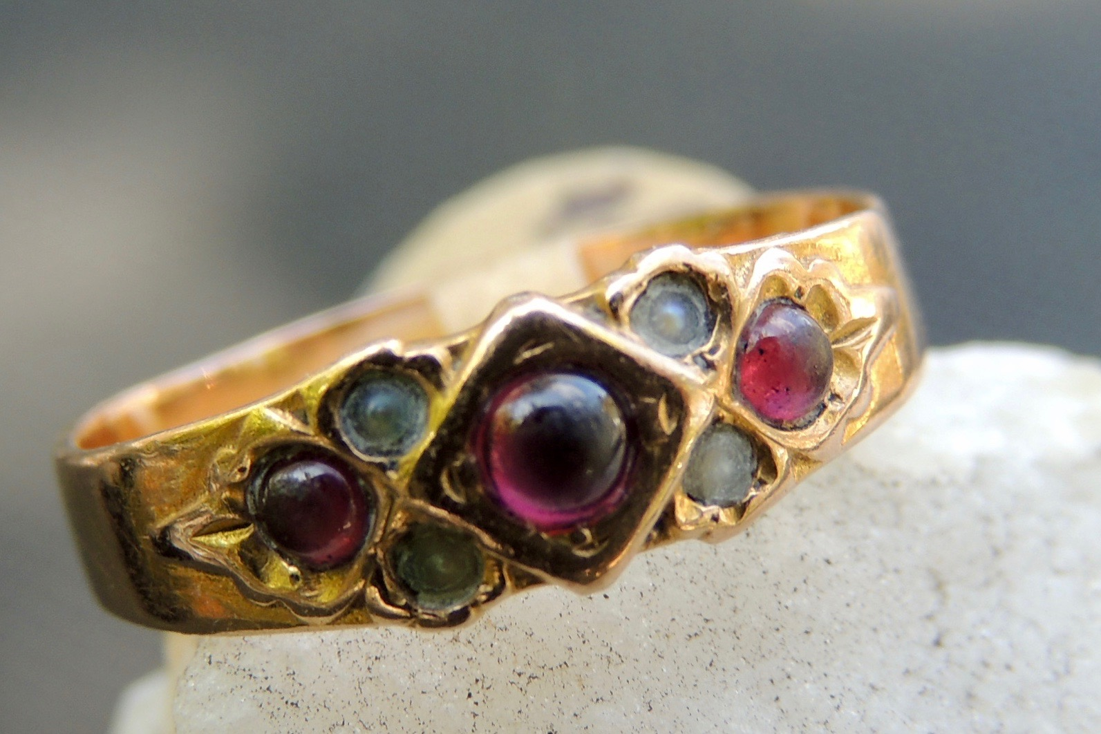 Victorian Ruby and Pearl Ring