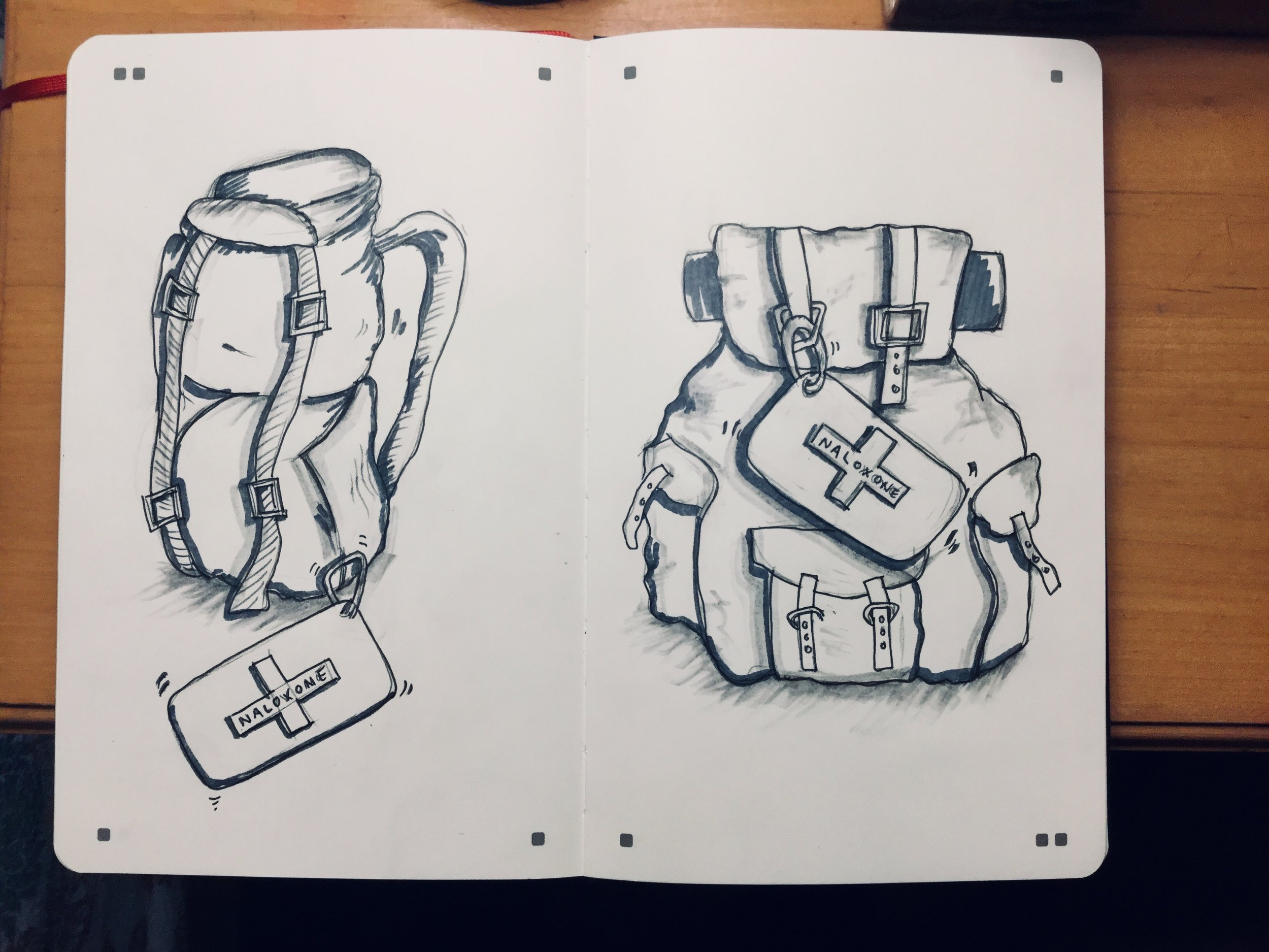 A couple of examples of backpack sketches.