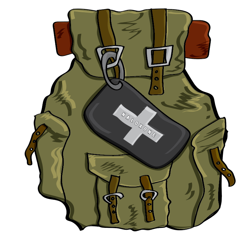 Drawn digital version of the backpack with Naloxone kit.