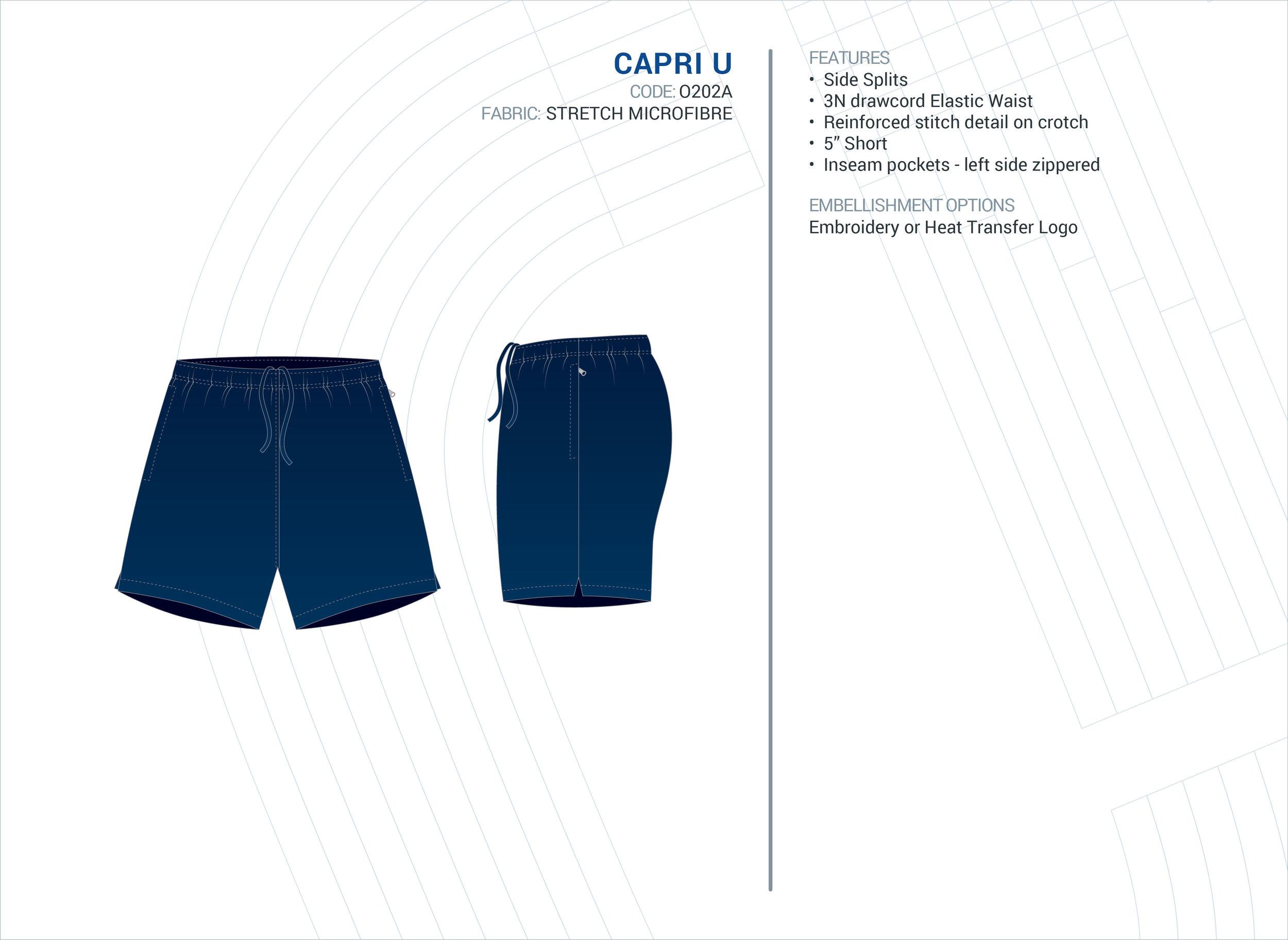 Unisex  Capri  Stretch Microfibre Short