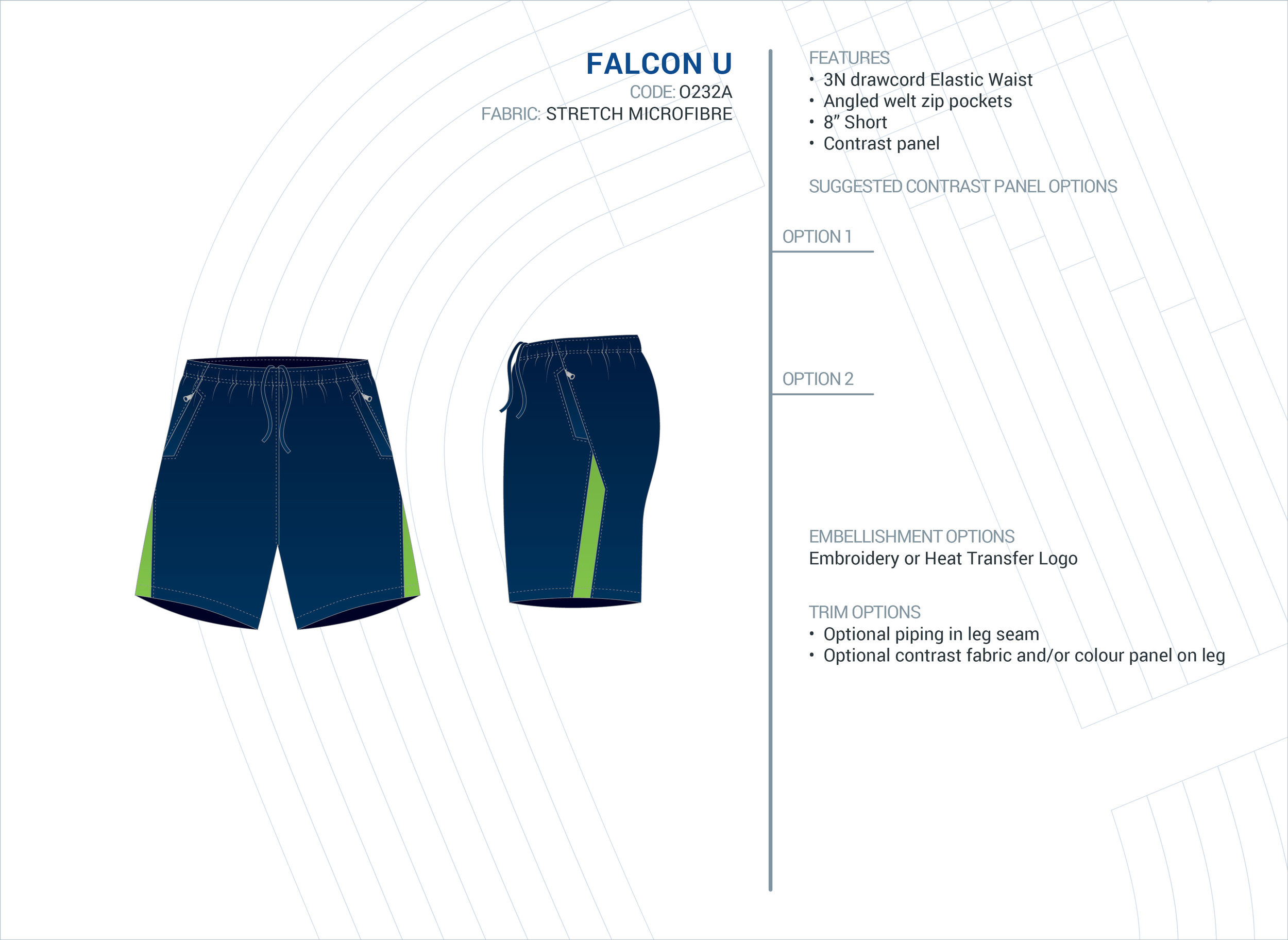 Unisex  Falcon  Stretch Microfibre Short