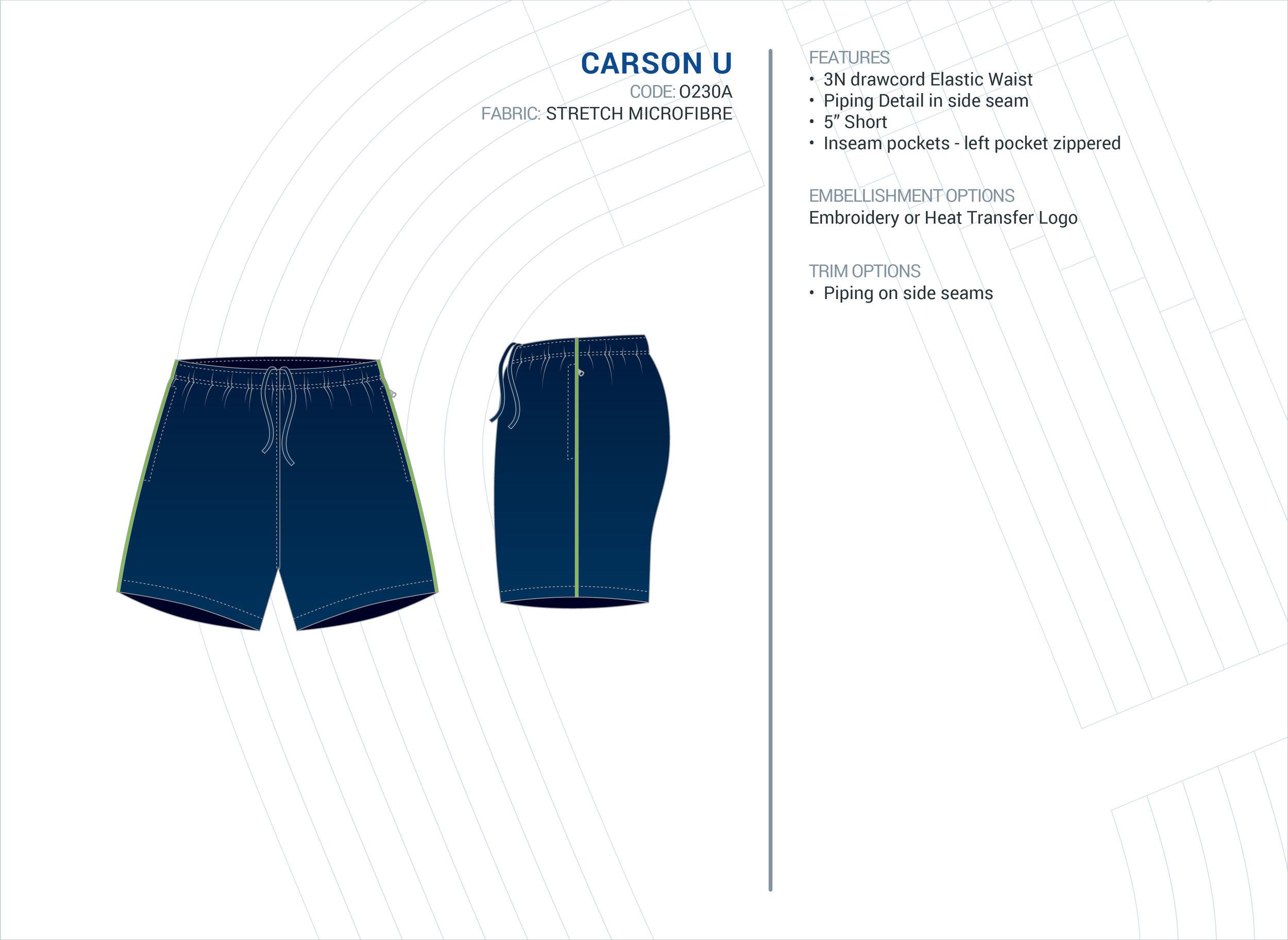 Unisex  Carson  Stretch Microfibre Short
