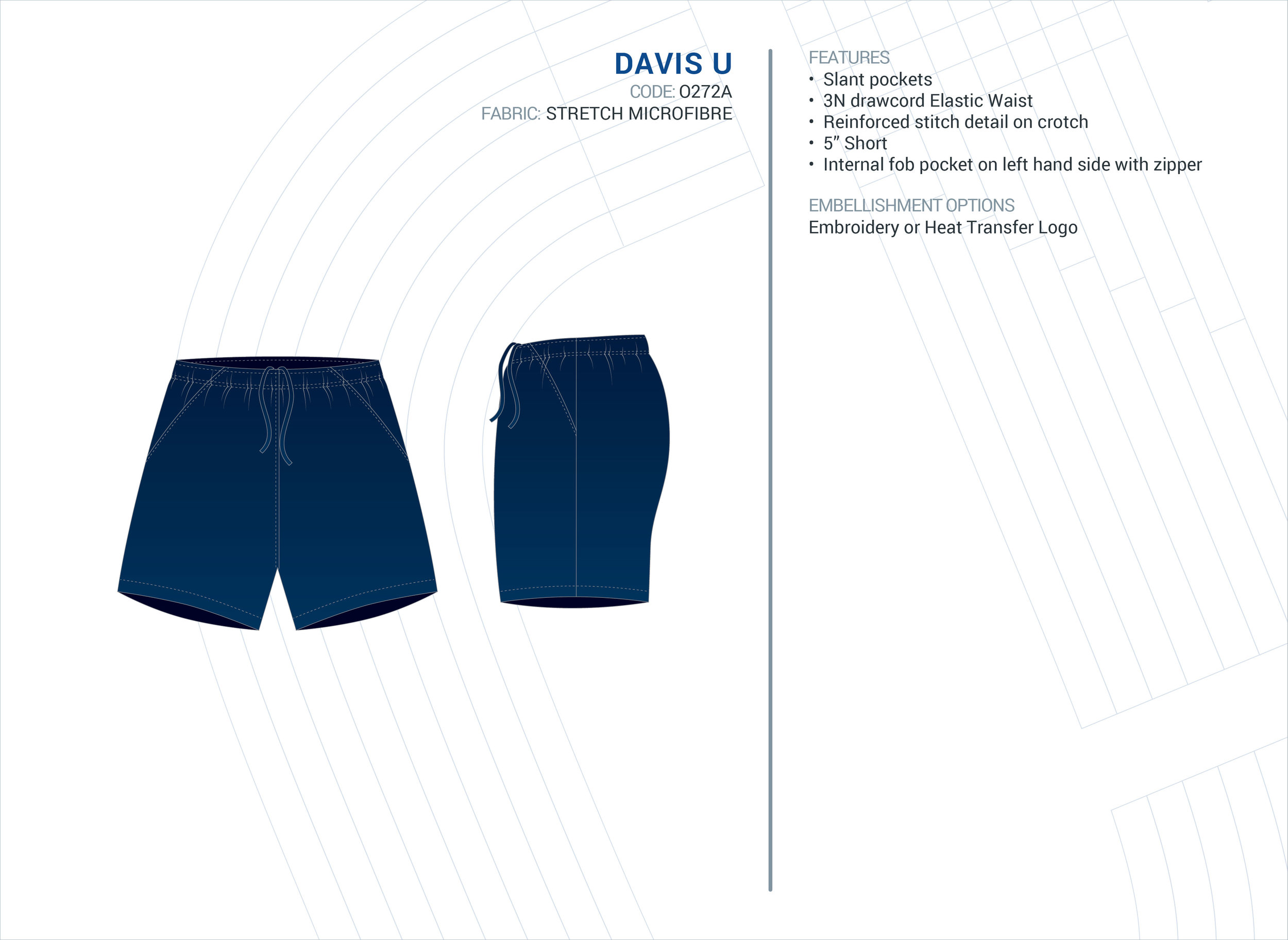 Unisex  Davis  Stretch Microfibre Short