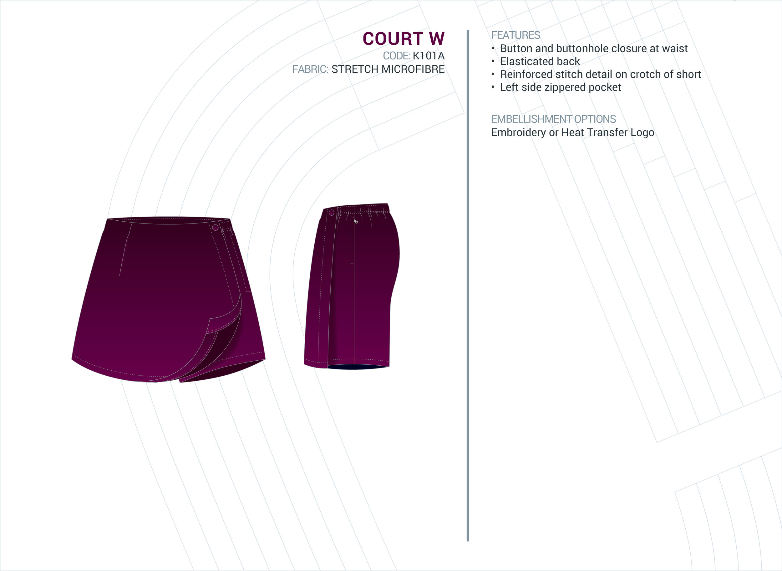 Women's  Court  Stretch Microfibre Skort