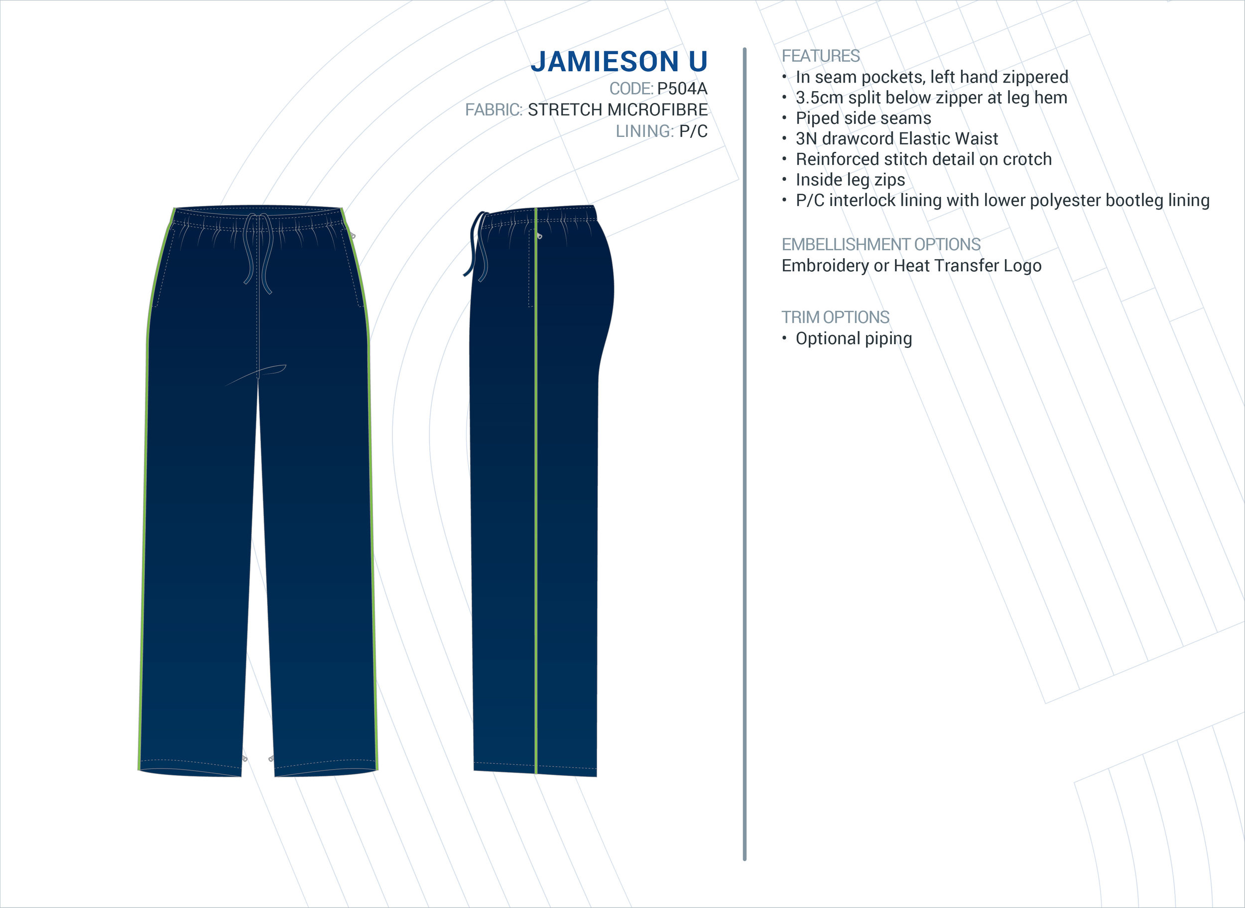 Unisex  Jamieson  Stretch Microfibre Trackpants
