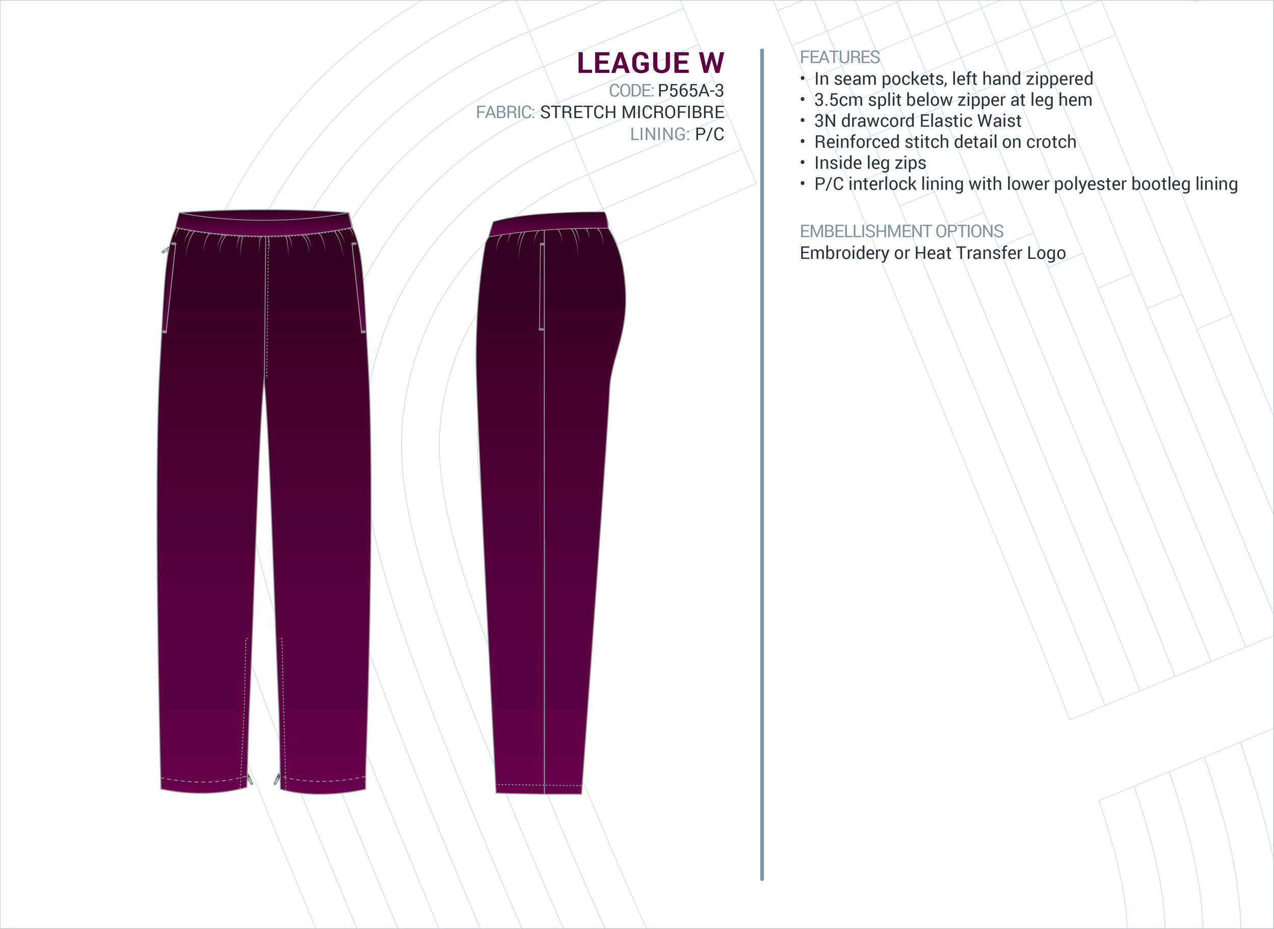 Women's  League  Stretch Microfibre Trackpants