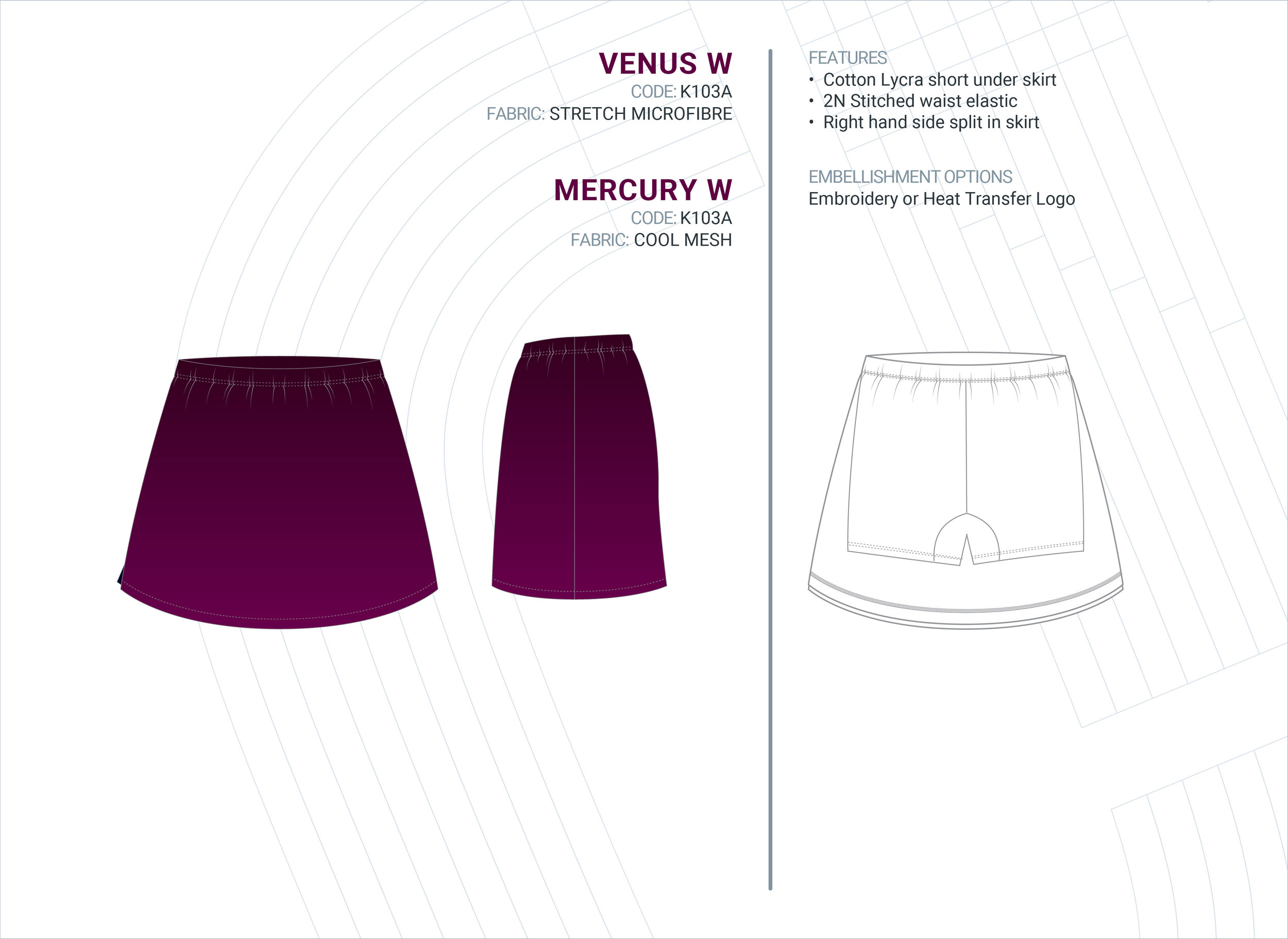 Women's  Venus  Stretch Microfibre Skort