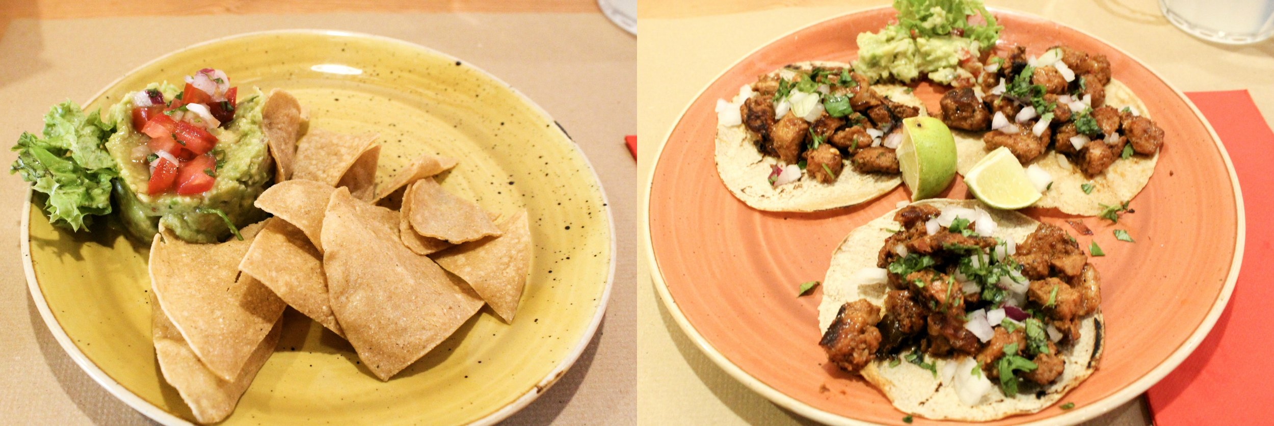 House made Guacamole & Chips and Trompo Tacos (pork)