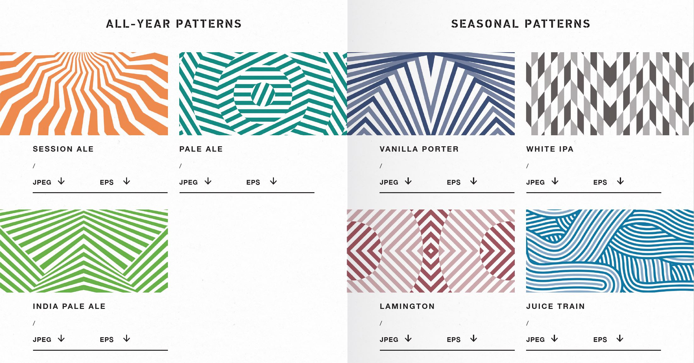 Corresponding dazzle patterns for every beer