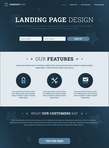 A typical landing page template.