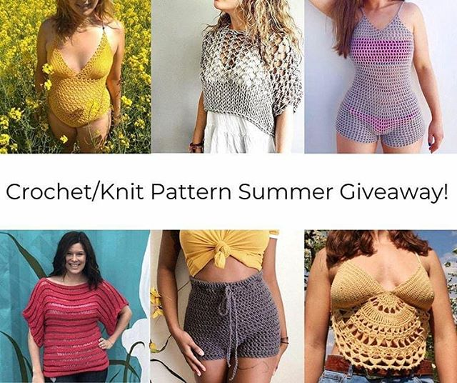 Happy Monday! I've teamed up with some incredibly talented ladies to bring you a banger of a giveaway! 🌻🔆 . One lucky winner will receive PDF copies of all 6 patterns💕 Poliana Swimsuit Pattern by @nomadstitches Knotty Crop Top Pattern by @rustiknits Cancun Romper Pattern by @crocheting Tunisian Drop Top Pattern by @by.stephanie.erin High-Waisted Shorts Pattern by @doeanddeercrochet Mandala Moon Top Pattern by @thenewmoondesigns . Rules to enter: 1. Must be following @nomadstitches, @rustiknits, @crocheting, @by.stephanie.erin, @doeanddeercrochet and @thenewmoondesigns 2. Must like all of the posts on each page 3. Bonus entry to share the giveaway in Instagram stories (tag all accounts involved to make sure it is seen!) . Giveaway ends June 3rd. Good luck! ✨ . . #loveknitting #lovecrochet #crochetersofinstagram #handmadewardrobe #handmadeisbetter #handmadefashion #boho #bralette #crochetbralette #swimwear #madebyhand #diy #giveaway #win #freebie #patternbundle #girlboss #girlpower #love #summerknits #summerofbasics #summerfashion