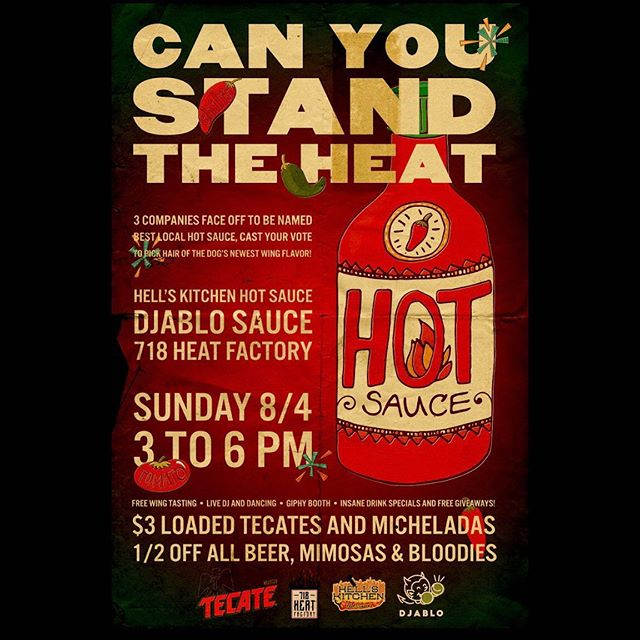 We are so excited to bring the heat this Sunday at @hairofthedognyc's hot wing competition! If you've been wanting a taste of @djablosauce come on out for free wings and discounted drinks! Sunday 8/4, from 3-6pm 😈  #hothothot #hotwings #aintnothingbutachickenwing #spicy #hotsaucelover #hotsauce #hotsauceinmybag #hotsaucewithapunch #nychotsauce #freefood #yum