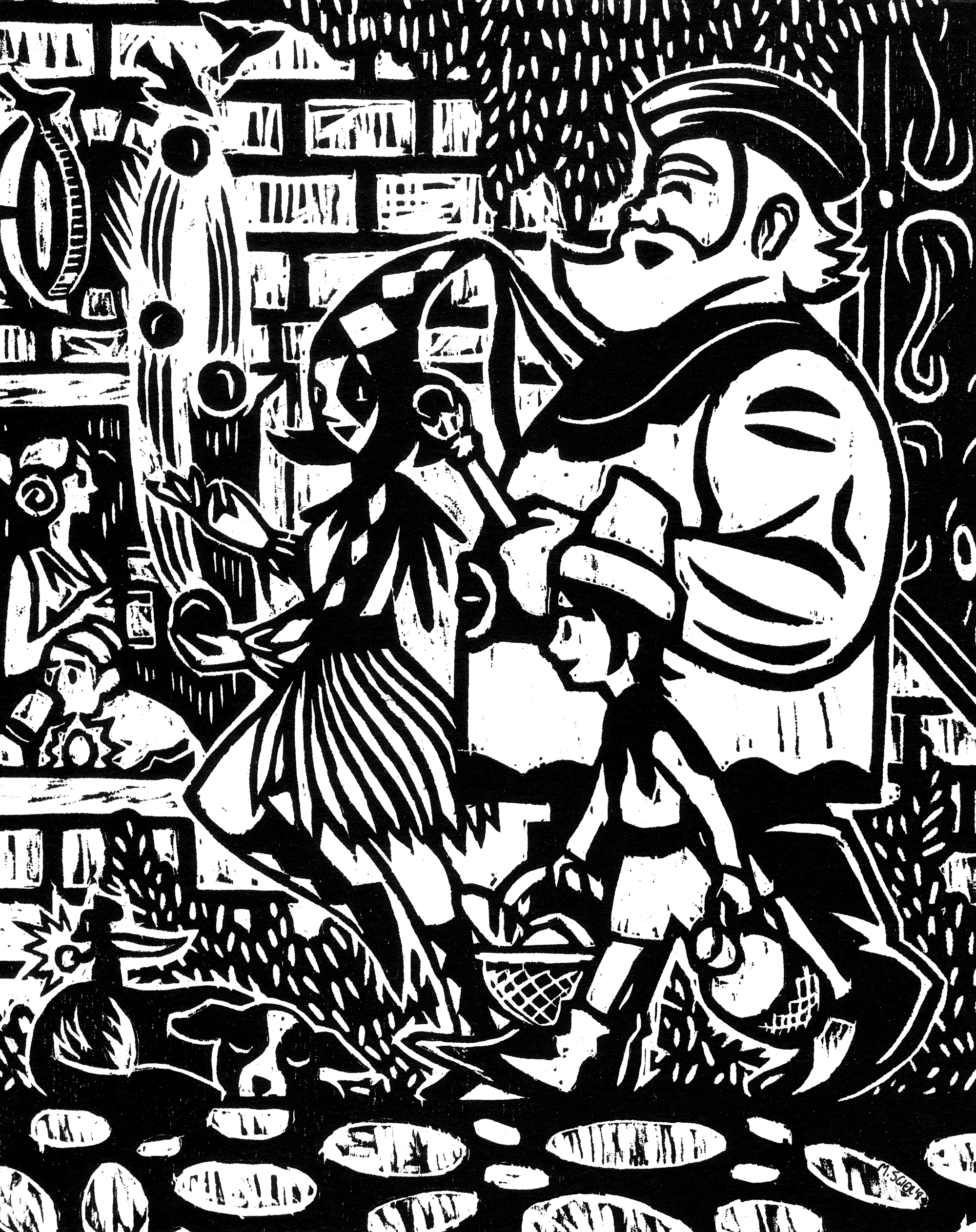 Streets of Tiega no. 3  woodcut relief print