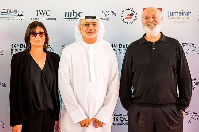 """The mercurial and inimitable Rob Reiner with his incredible better half Penny Marshall and the DIFF Artistic Director Masoud Amralla Al Ali at the premiere of Rob's latest feature """"Shock & Awe"""" . . . . . #eventphotography #robreiner #pennymarshall #visualambassadors #diff #shoottocreate #anotherdayattheoffice"""