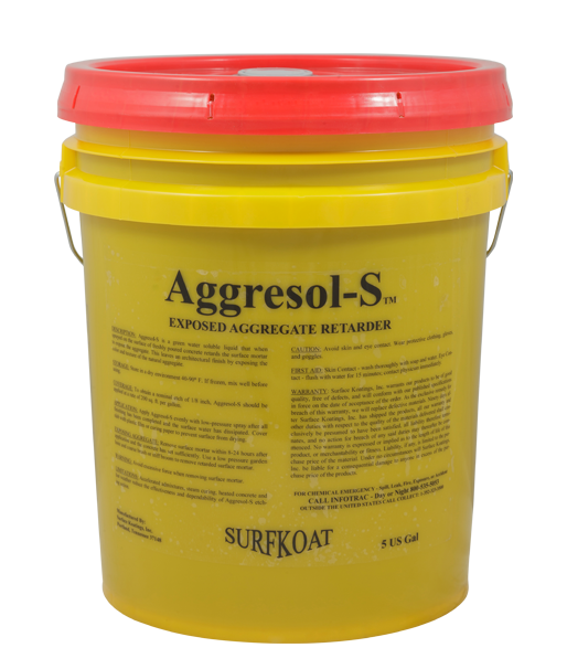 Aggresol-S   -Exposed Aggregate Surface Retarder  -Water Based Material  -Time Tested Formulation  -Provides Controlled Etch  Aggresol-S is a water soluble liquid specially formulated to set the surface mortar of fresh concrete to expose aggregates in freshly placed concrete surfaces. Aggresol-S is green in color to allow for easy identification of applied areas and to ensure appropriate uniform coverage.  Aggresol-S should be used to acheive architectural color, texture, and appearance without mechanical means such as sandblasting.    Tech Data Sheet   Price: $37.25