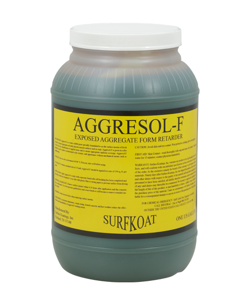 Aggresol-F   -Exposed Aggregate Surface Retarder  -Water Based Material  -Gel Consistency for Form Application  -Provides Controlled Etch  Aggresol-F is a water soluble paste specially formulated to set the surface mortar of fresh concrete to expose aggregates in freshly placed concrete surfaces such as steps. Aggresol-F is green in color to allow for easy identification of applied areas and to ensure appropriate uniform coverage.  Aggresol-F should be used to acheive architectural color, texture, and appearance without mechanical means such as sandblasting.   Tech Data Sheet   Price: $72.95