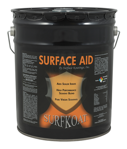 Surface Aid   -Solvent Blend Thinner  -Cures Blushing  -Easily Melts Down Sealer  -Sprayable, Quick Drying Formula  Surface Aid is made up of a strong blend of aromatic and ketone solvents and surfactants. It is used to restore heavily coated existing solvent based acrylic sealers that have started to soften, fade, peel, crack, delaminate, and deteriorate. Surface Aid also clears up white spots or blushing due to moisture content issues.  Surface Aid melts the heavily coated existing solvent based acrylic sealer, and helps restore the original appearance without adding more acrylic to allow the sealer to wear off naturally over time without stripping the existing bulk of the coating.   Tech Data Sheet   Price: $67.50