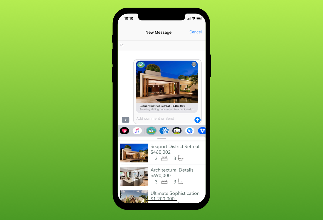 Share a property with a friend through iMessages.