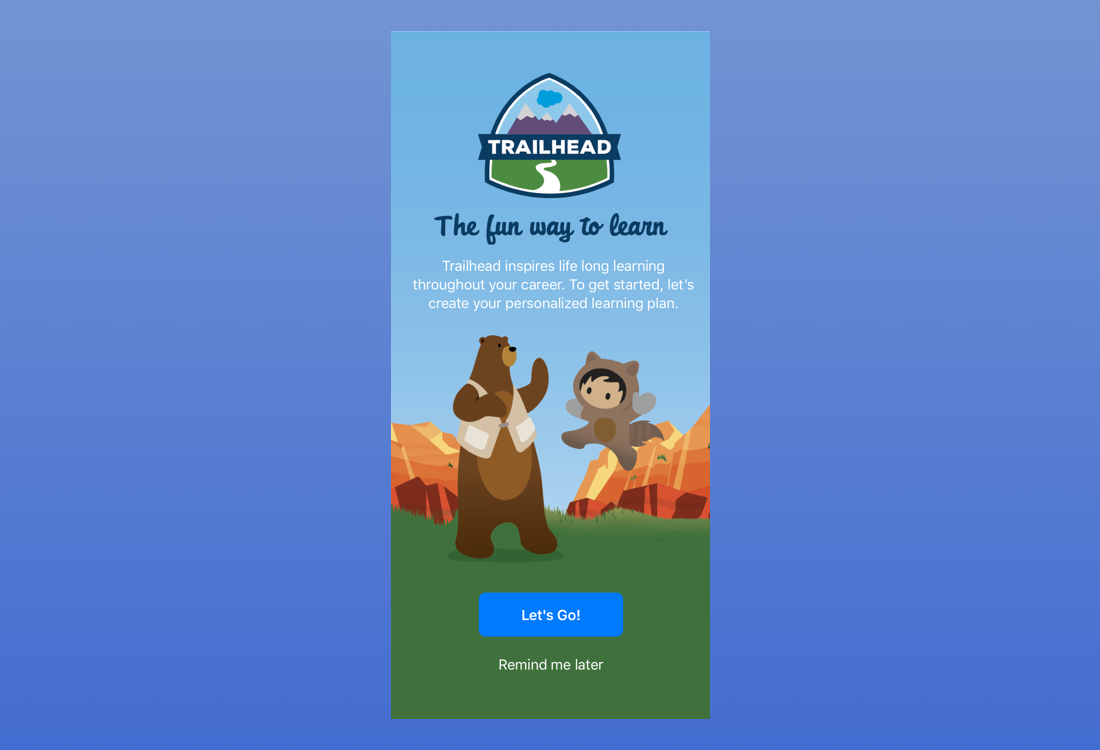 Home screen captures the fun nature of Trailhead