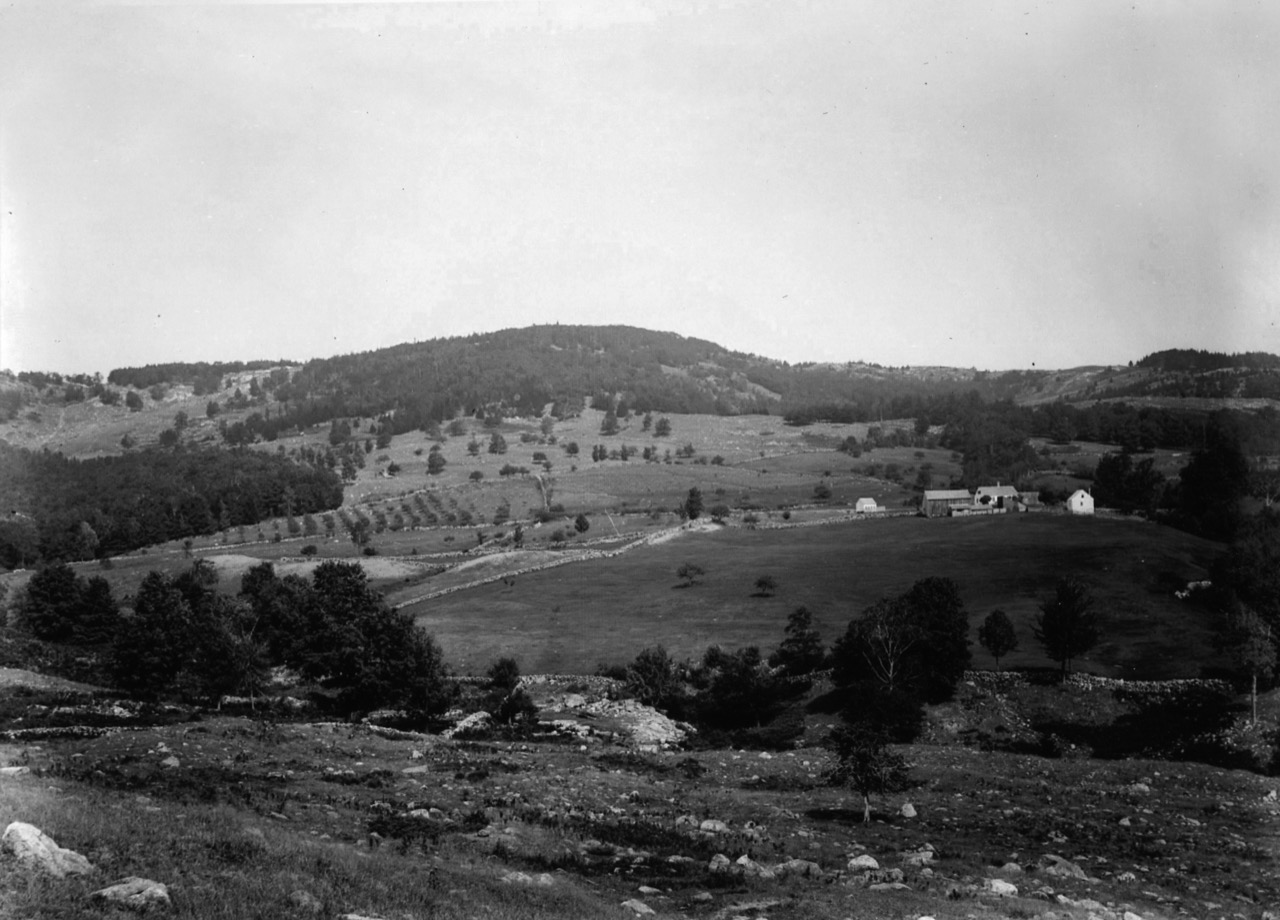 - Photograph is circa 1895 and the building on the far right of the farm is what was used as a 'sap house' in the early spring each year. The left side of the photo shows the old apple orchard!