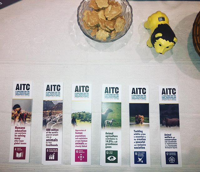 Last chance to come grab our whole set of bookmarks at the AITC booth in the Conference Room Building main floor! We look forward to meeting you ! 🦁🐱🐭🐵🐔🦆🐝🦑🐠 #HLPF2019 #SDGs #GlobalGoals #wildlife #biodiversity #animals #animalwelfare #animalprotection @unitednations