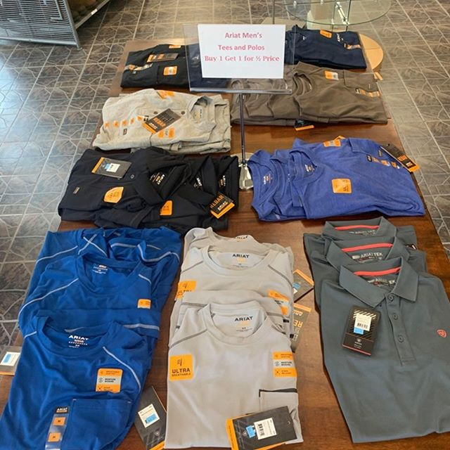 All Ariat Men's Tees and Polos are now buy one get one HALF PRICE!!