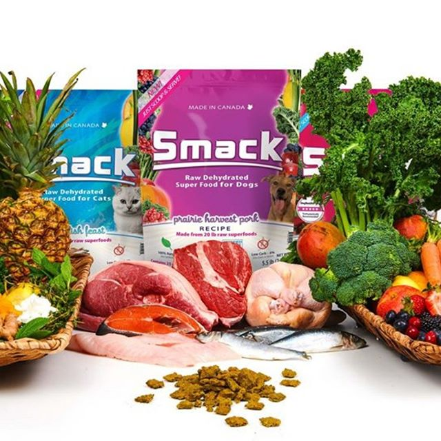 Smack's Raw Dehydrated Crunchy Style superfoods are dehydrated using gentle, low-temperature air drying methods which retain more nutrients compared to freezing.  All Smack five-star rated raw dehydrated foods feature a short list of the world's best organic and conventional whole superfood ingredients that are proven highly beneficial for health and are also lip-smacking good, without any fillers, gluten, or grain.  Smack chicken diets are made from Canadian-grown USDA Organic free-range chicken. Our chicken diets are bone-in, with organs, raised without the use of hormones, antibiotics, drugs, or preservatives. Our wild BC salmon is bone-in, with organs, and is not treated with preservatives such as ethoxyquin.