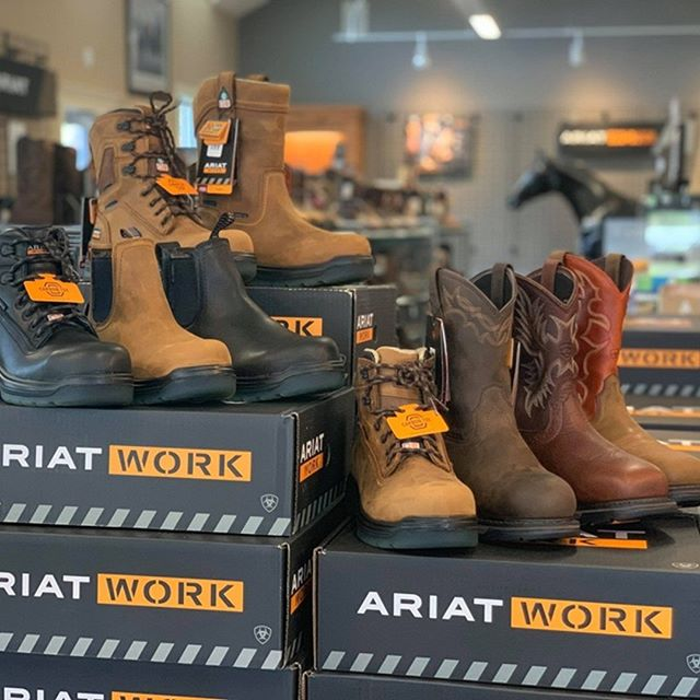 NEW Ariat CSA Approved Workboots from Road Apples, Citation Drive, Hammonds Plains NS ATS® technology for stability and all-day comfort.  Can also be seen on-line 24 hrs/Day at www.RoadApplesShoppe.ca •Waterproof PRO™ construction with waterproof full-grain leather •Puncture Resistant work boots feature the metal-free SWEN-FLEX® midsole for foot surface protection •Metal detector friendly 100% non-metallic safety technology •Energy Max™ rebound foam insole •Mesh lining •Direct-attach construction •Oil- and slip-resisting dual-density PU/TPU outsole •90° heel •Safety toe is ASTM F2413-18 M/I/C EH rated •Certified to CSA Standard Z195-14 with Grade 1 toe protection, protective sole protection and electrical shock resistance (ESR) protection  SPECIFICATIONS Shaft Height: Various  Technology Filter: ATS  Certification: ASTM F2413-11 M I/75 C/75 EH Rated, CSA Standard Z195-14 ESR Grade 1 toe protection with sole protection  Toe Shape: Round  Safety Toe: Carbon Toe  Waterproof: Waterproof Pro  Technology: ATS