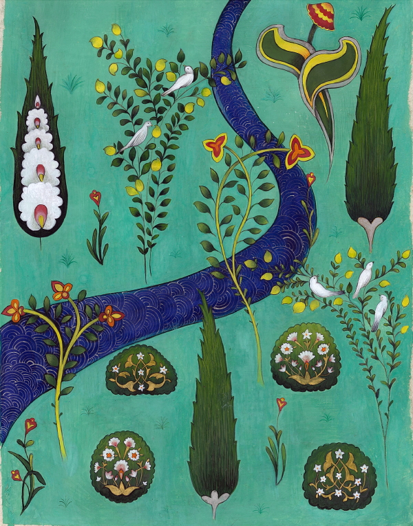 Genuine hand-ground pigments including Malachite, Lapis Lazuli and Azurite, hand-made pigments, genuine palladium shell gold on handmade Wasli paper. 29 x 22 cm, 2018.    This painting is now part of a private collection but prints are still available to buy. To get your print please contact info@yasminhayat.com