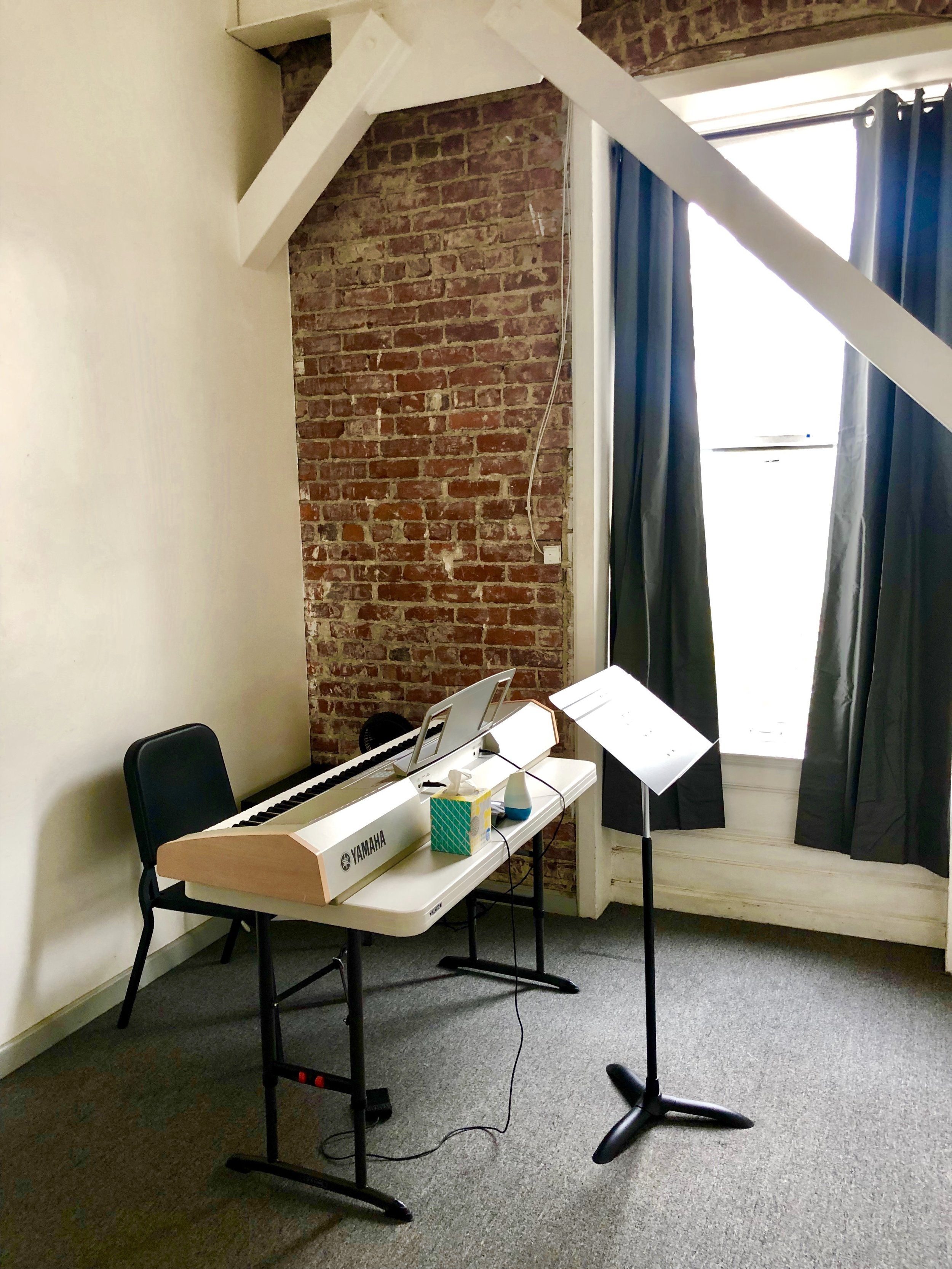 Studio 2 Uses: Lessons, practice, rehearsals for 2-3 people, meetings