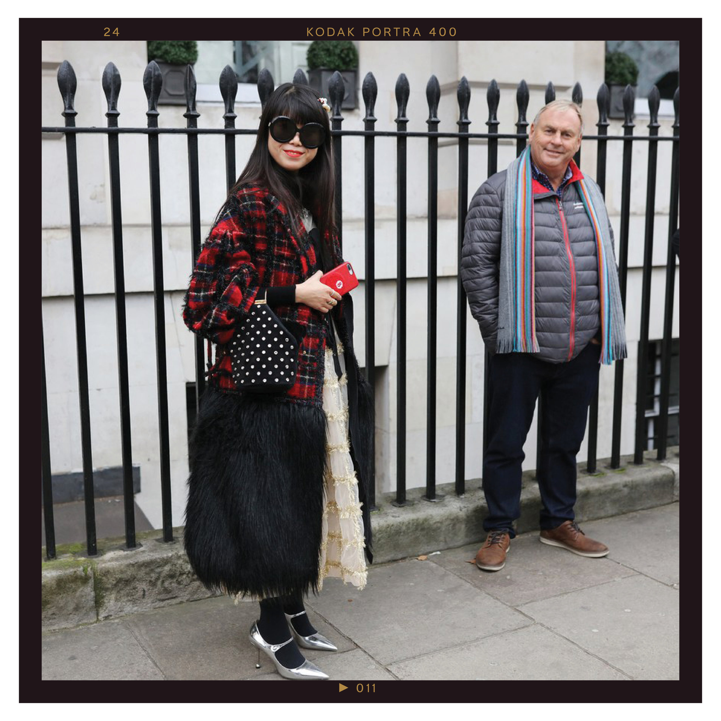 Leaf Greener in a Simone Rocha coat and dress and Prada shoes