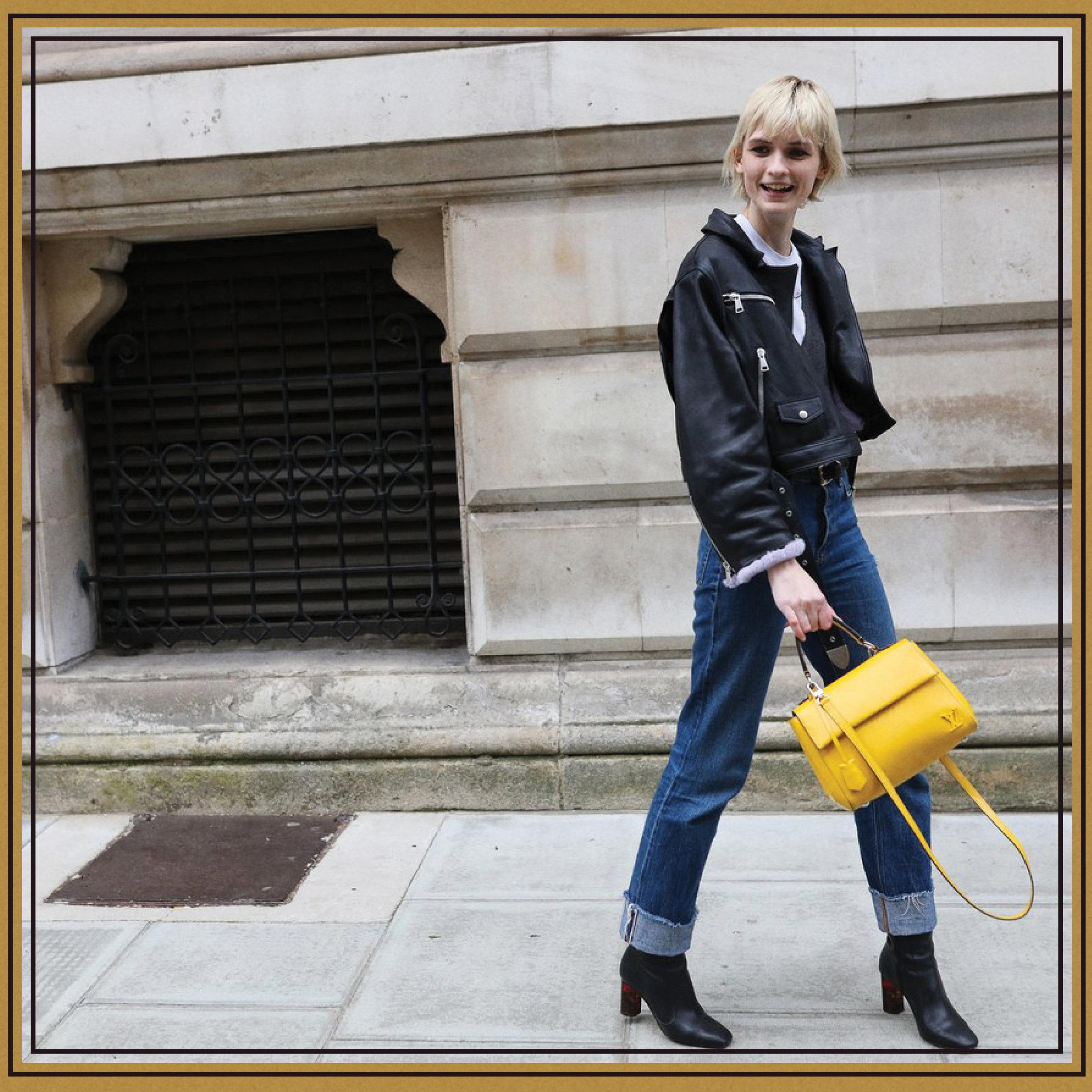 Lara Mullen with a Louis Vuitton bag