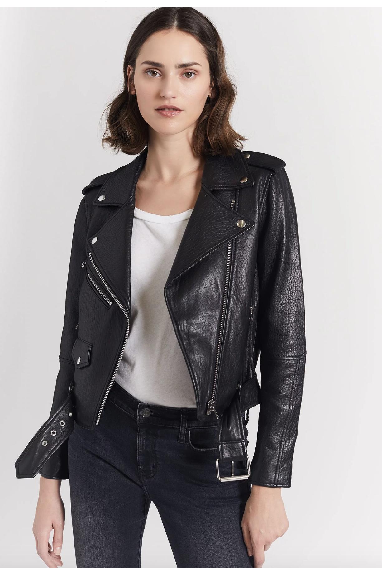 Current Elliot The Shaina Leather Biker Jacket, $1,198