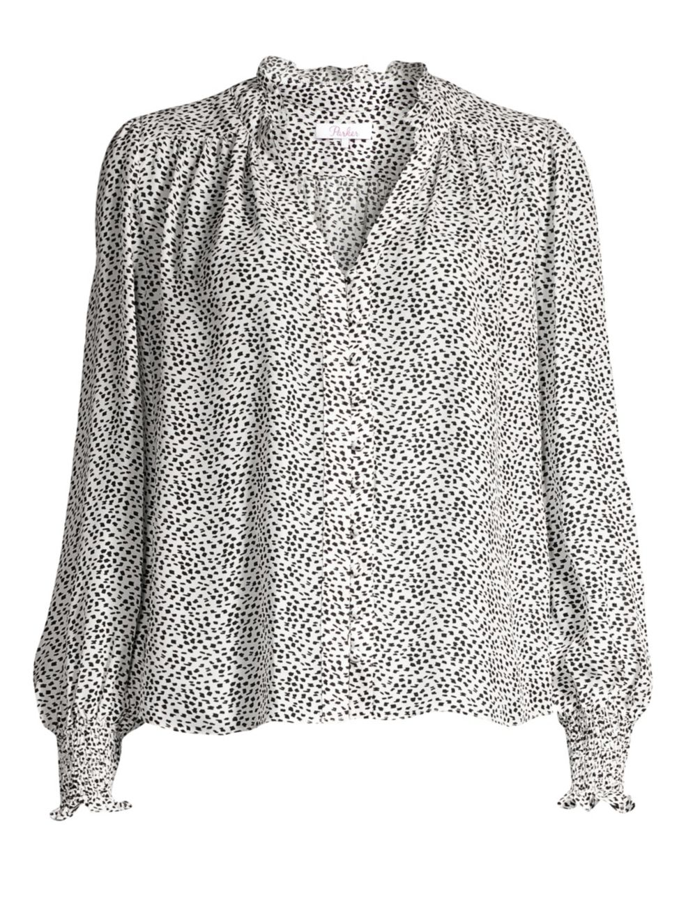 Parker Daniella Long Sleeve Spotted Blouse, $238