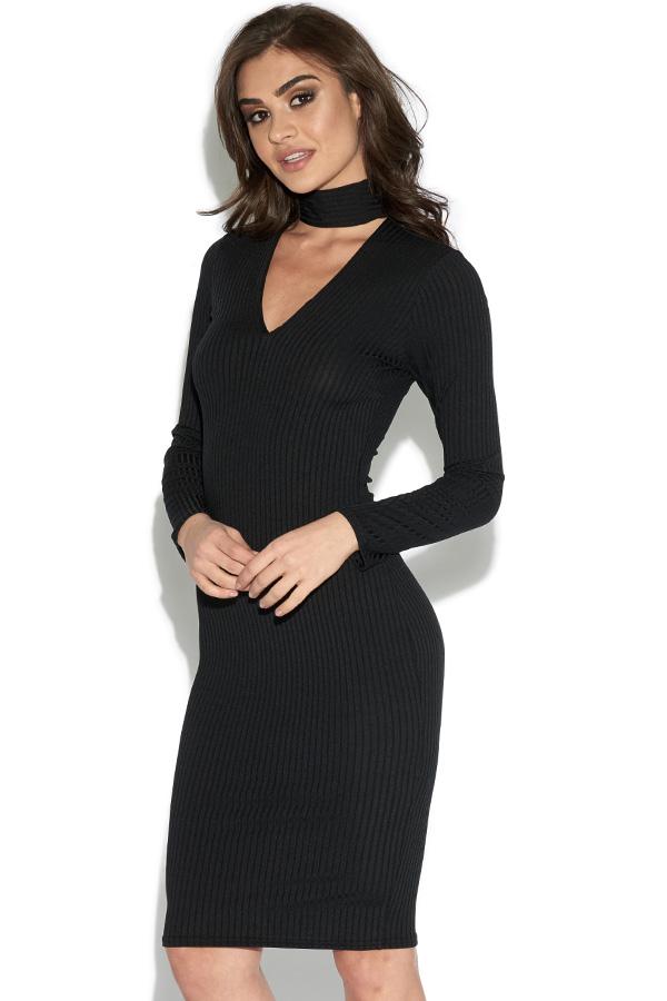 Long Sleeved Ribbed Choker Bodycon Dress, $62