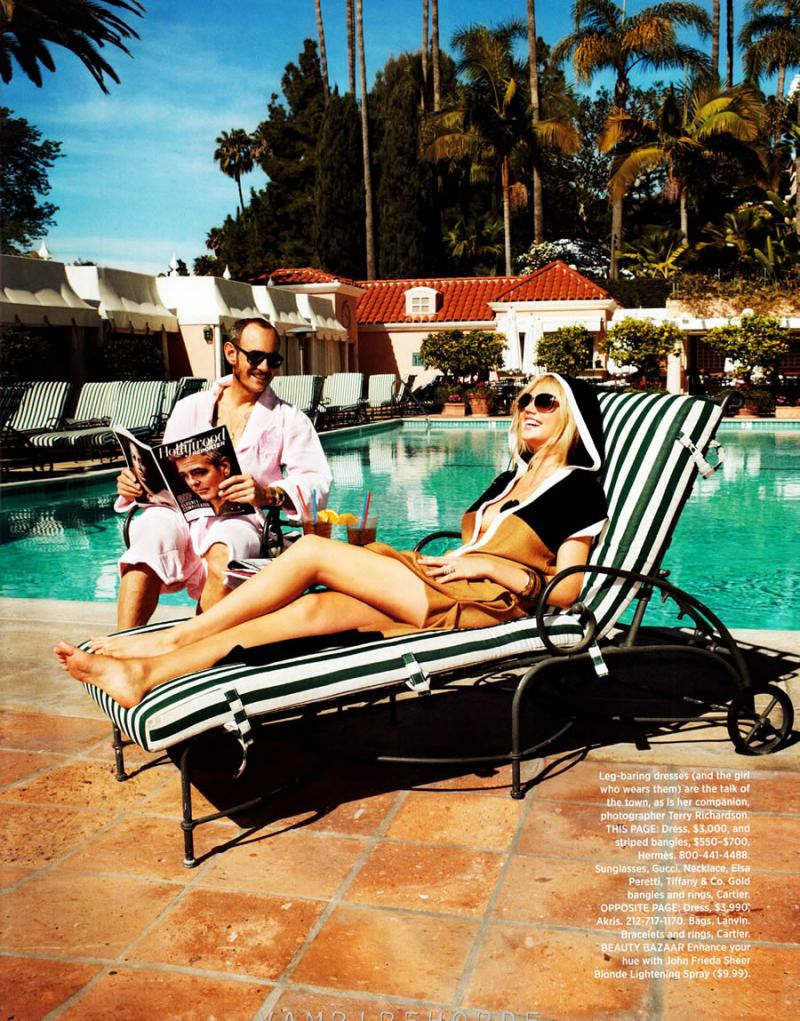 """Terry Richardson, Kate Upton and a couple of friends rocking in """"The Shape of Things to Come"""" shot at The Beverly Hills Hotel for Harpers Bazaar May 2012 issue, styled by Andrew Richardson."""