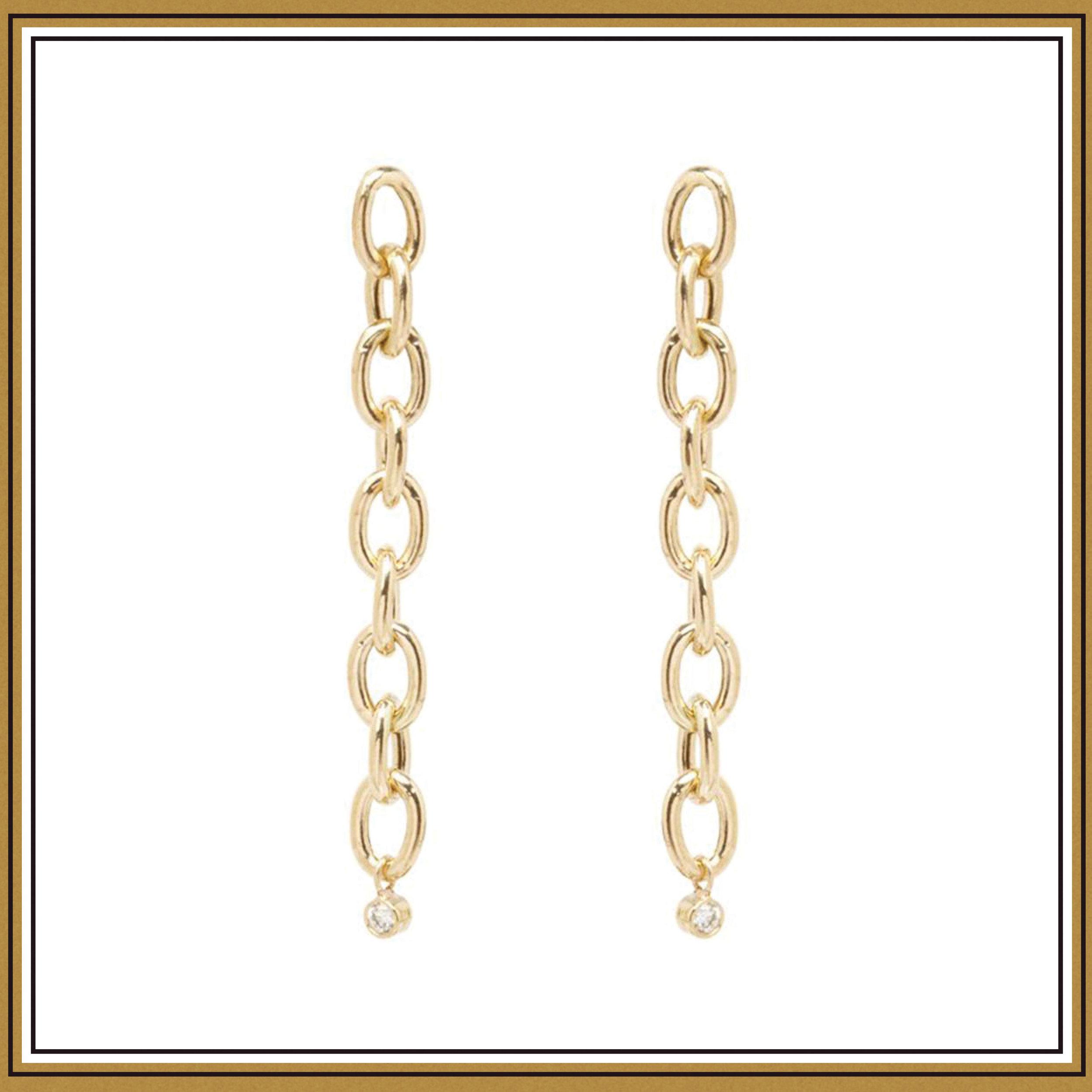 Zoe Chicco 14K Oval Link and Dangling Bezel Diamond Earrings ($495)
