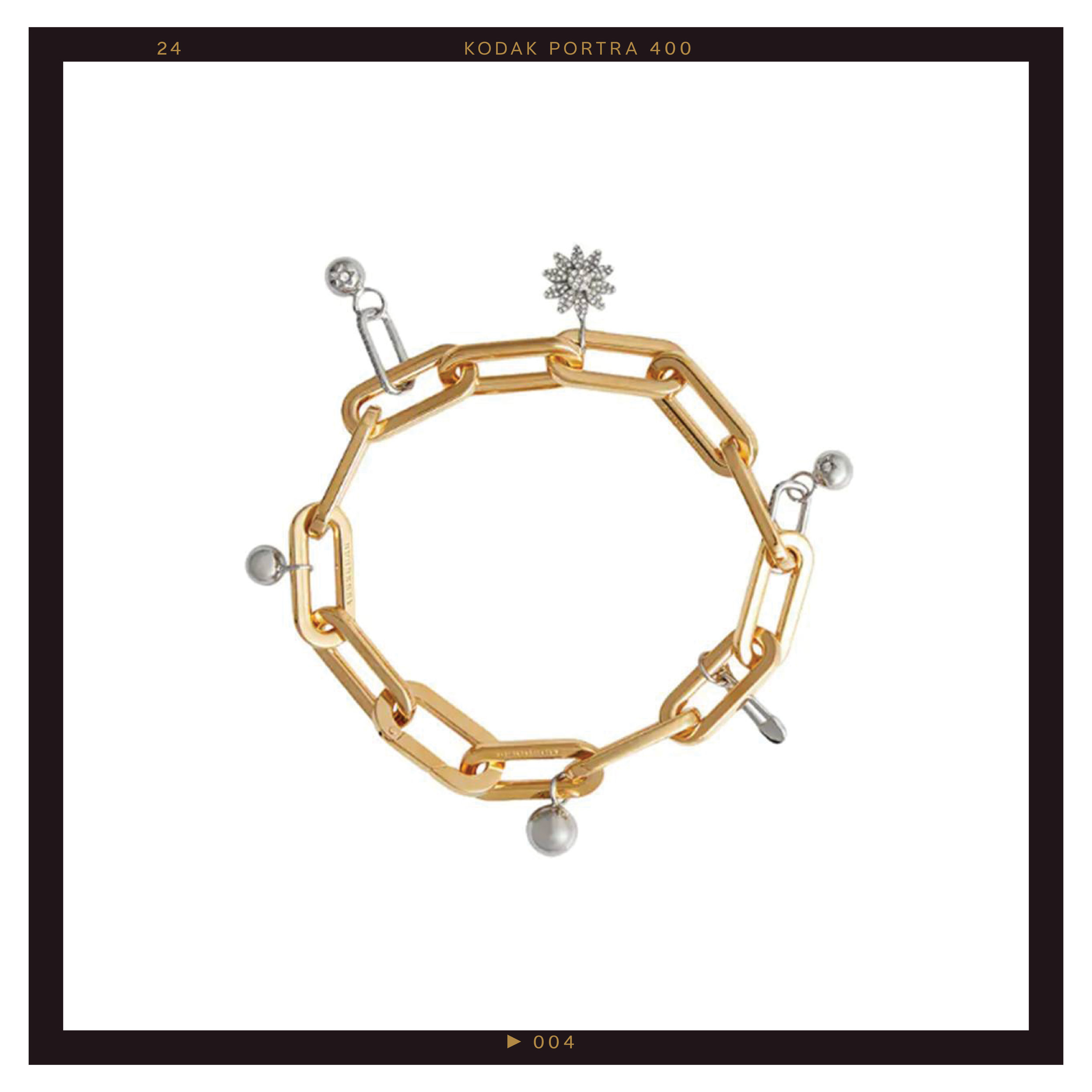 Burberry Crystal Charm Gold and Palladium-Plated Bracelet ($958)