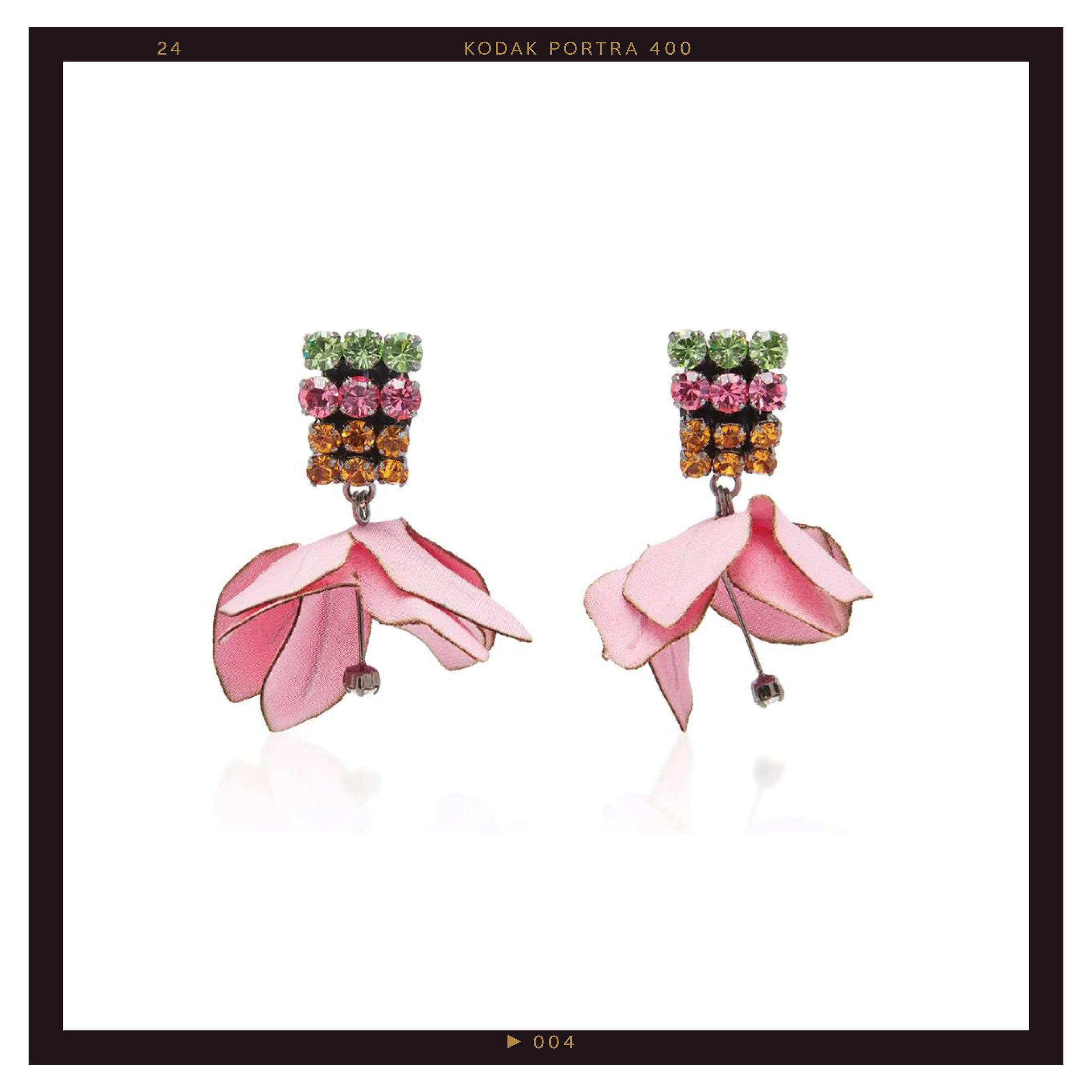 Marni Cotton Flower and Rhinestone Earrings ($450)