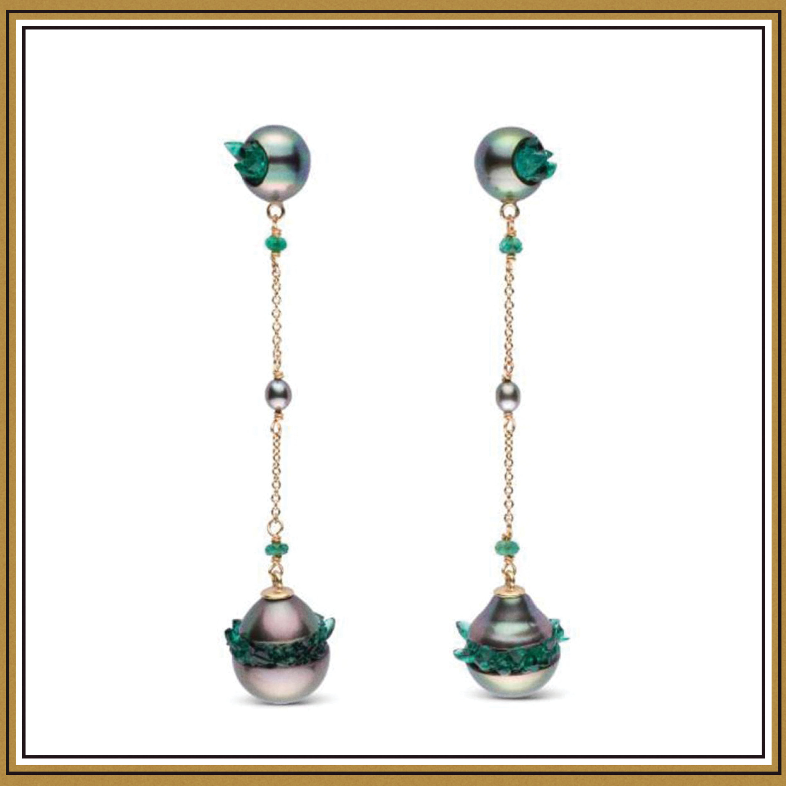 Little H Tahitian Pearl and Emerald Point Collection Dangle Earrings ($2700)