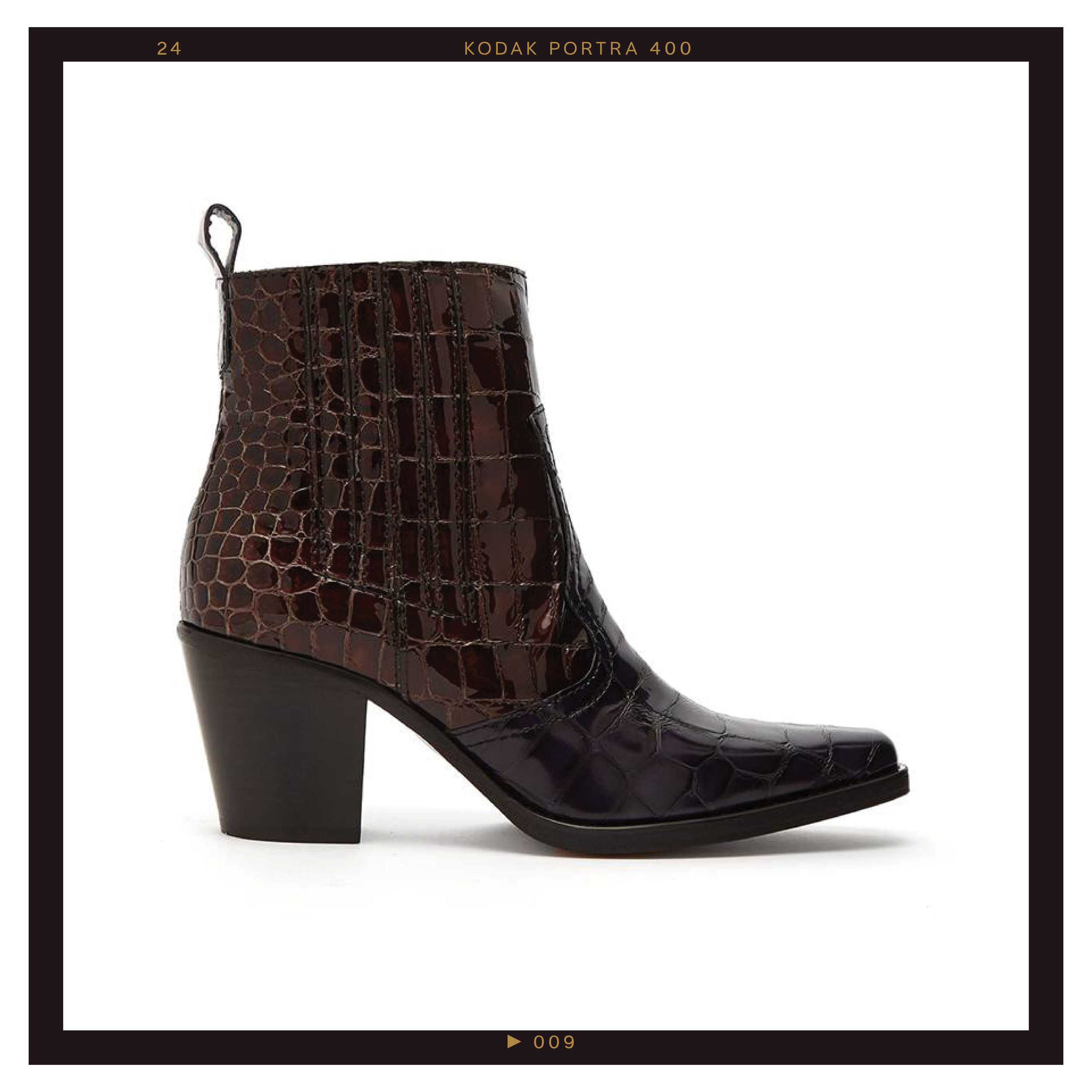 Ganni Callie Crocodile-Effect Patent-Leather Ankle Boots, $429