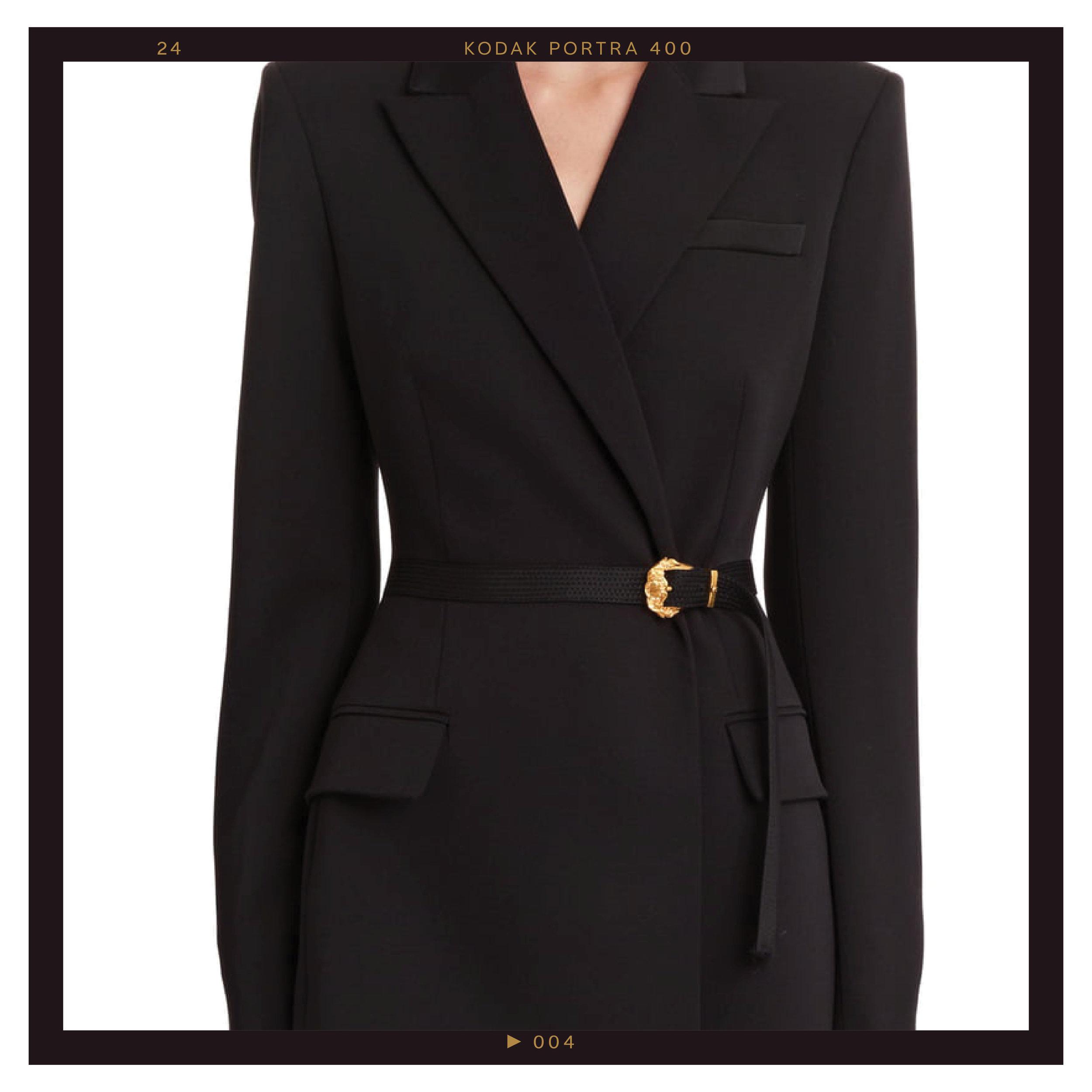 Versace Belted Stretch Wool Blazer, $2550