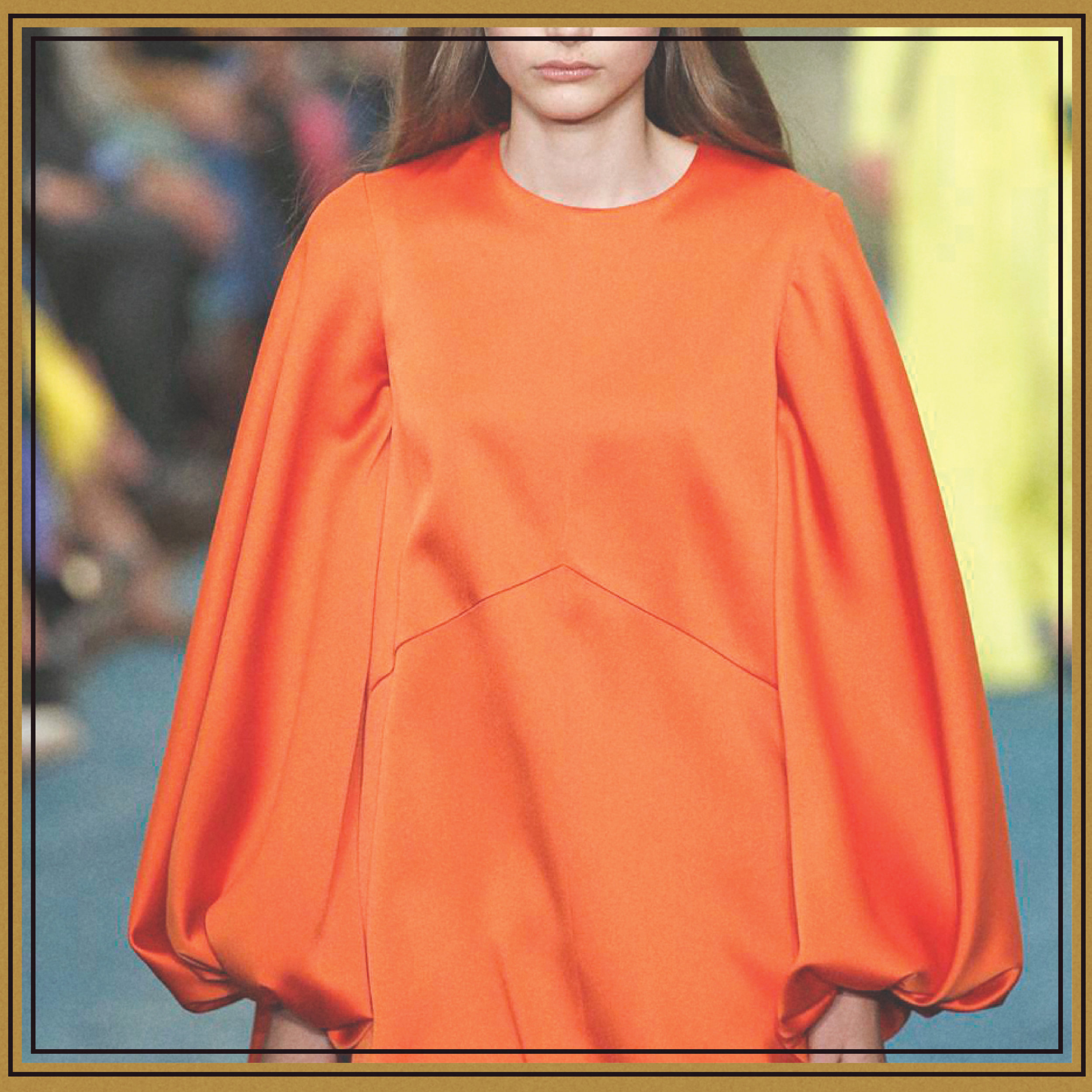 Tiger Orange - Bright-and-bold hues for fall and winter? You bet. Vibrant orange was seen in abundance on the fall runways, paired with equally bright pink (see below), as well as subdued neutrals. It's a surprisingly flattering color on every skin tone. For a statement look, opt for tailored separates worn with a neutral tee.
