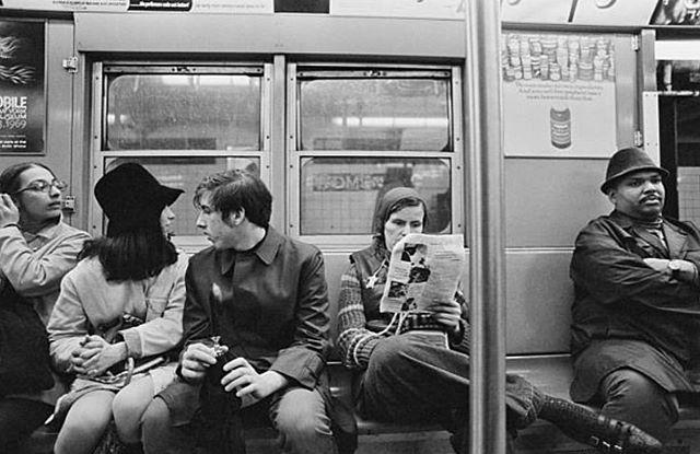 Travelers on the subway, 1968. @jillfreedmanphoto #jillsmadhattan