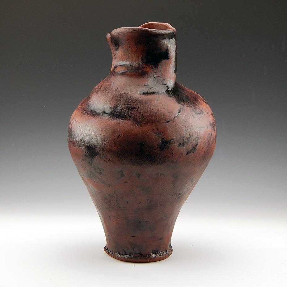 """Big Buxom Vase"" (2017) - Handbuilt red stoneware clay, oxide, glaze. 13"" x 8"" x 4""."