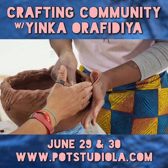 "CRAFTING COMMUNITY is headed to LA!!! ✈️ . . . #sociallyengagedart #sociallyengagedcraft #peopleofcolorpeopleofclay #pocartists #blackpotter #culturalpreservation #communityart #blackwomenartists #potteryworkshop #phillyartist #potstudiola . . . #Repost from @pot_la (@repost_media_app) SPECIAL WORKSHOP ANNOUNCEMENT:  POT welcomes Philly-based artist Yinka Orafidiya @crafting.community on her first guest workshop here, celebrating the culture in ceramics while creating a truly communal pottery making experience. This workshop sums POTs mission up... Yinka will demonstrate traditional pottery building techniques she learned during her recent travels and apprenticeship in Ghana West Africa.  Participants will have the opportunity to practice these skills and contribute to the production of one-of-a-kind community pottery vessels - communally. 4 different workshops of 7 students each will be communally working on the same set of pieces.  The ""Crafting Community"" movement strives to foster social connection by providing a shared artistic experience in which participants work collaboratively towards achieving a common goal. The objective of this special workshop series will be to learn new skills and complete a set of handmade vessels whose sales proceeds will entirely be donated to POT's community initiative to bring free pottery therapy to those with less access. More on this to come in the next few weeks.  Participants will not take home individual work, rather the emphasis will be placed on skill building and reinforcing the technique. Pottery will be built in a communal fashion, merging the collective creative energy of the POT community, and allowing for multiple people to contribute to the production of a single vessel. A truly unique opportunity to support a great cause, learn a new skill, & join us in crafting community!"
