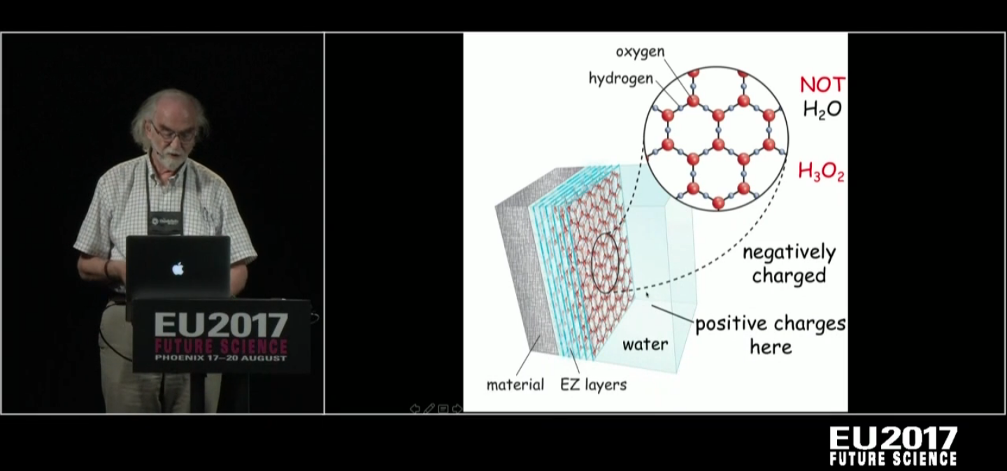Dr. Pollack at Electric Universe Conference 2017 explaining the 4th Phase of Water. E-Z water, exclusion zone water or structured water. H3O2 It forms shapes, due to charge!